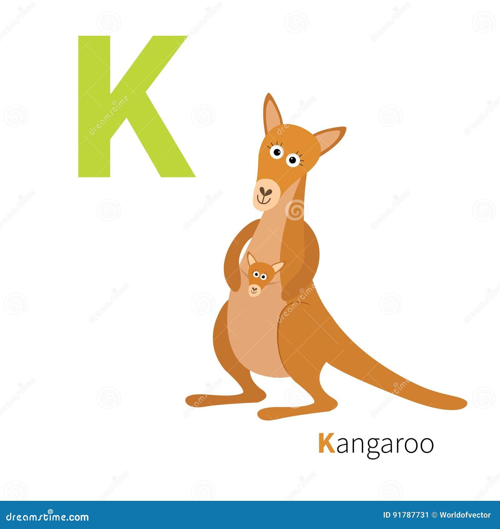 c7cec36a4 Alfabeto inglés del ABC Letra K Mamá del canguro con el bebé en la bolsa del