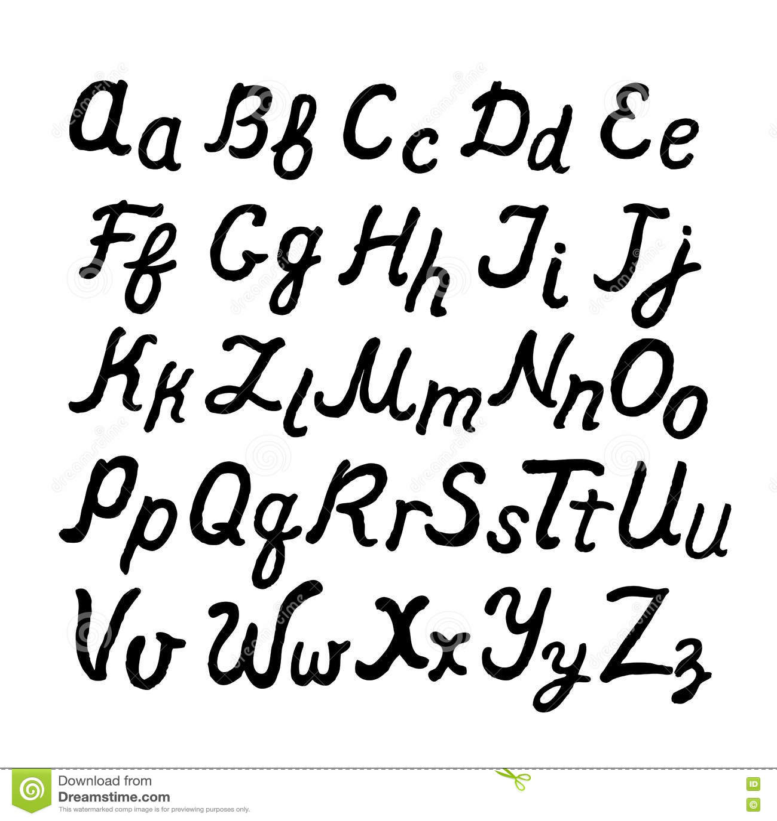 Preferenza Alfabeto Inglese Corsivo Scritto A Mano Illustrazione Vettoriale  KT16