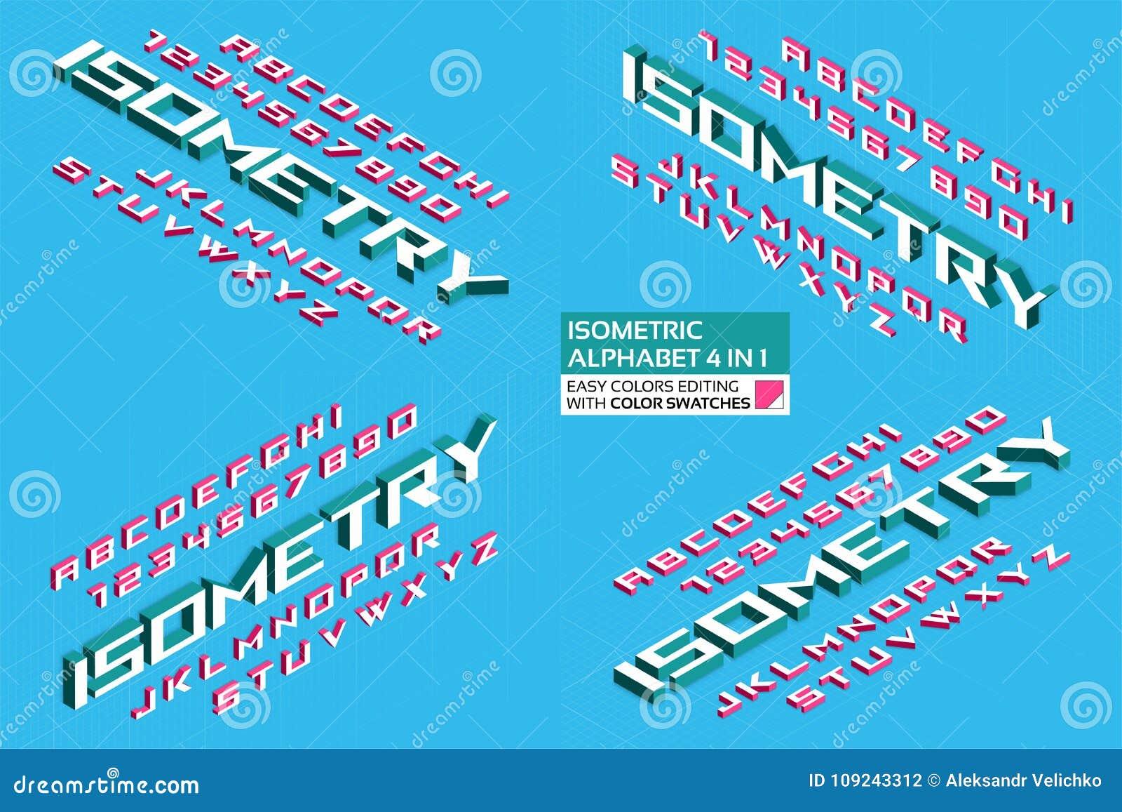 Alfabeto isometrico 4 in 1 lettere 3d e numeri