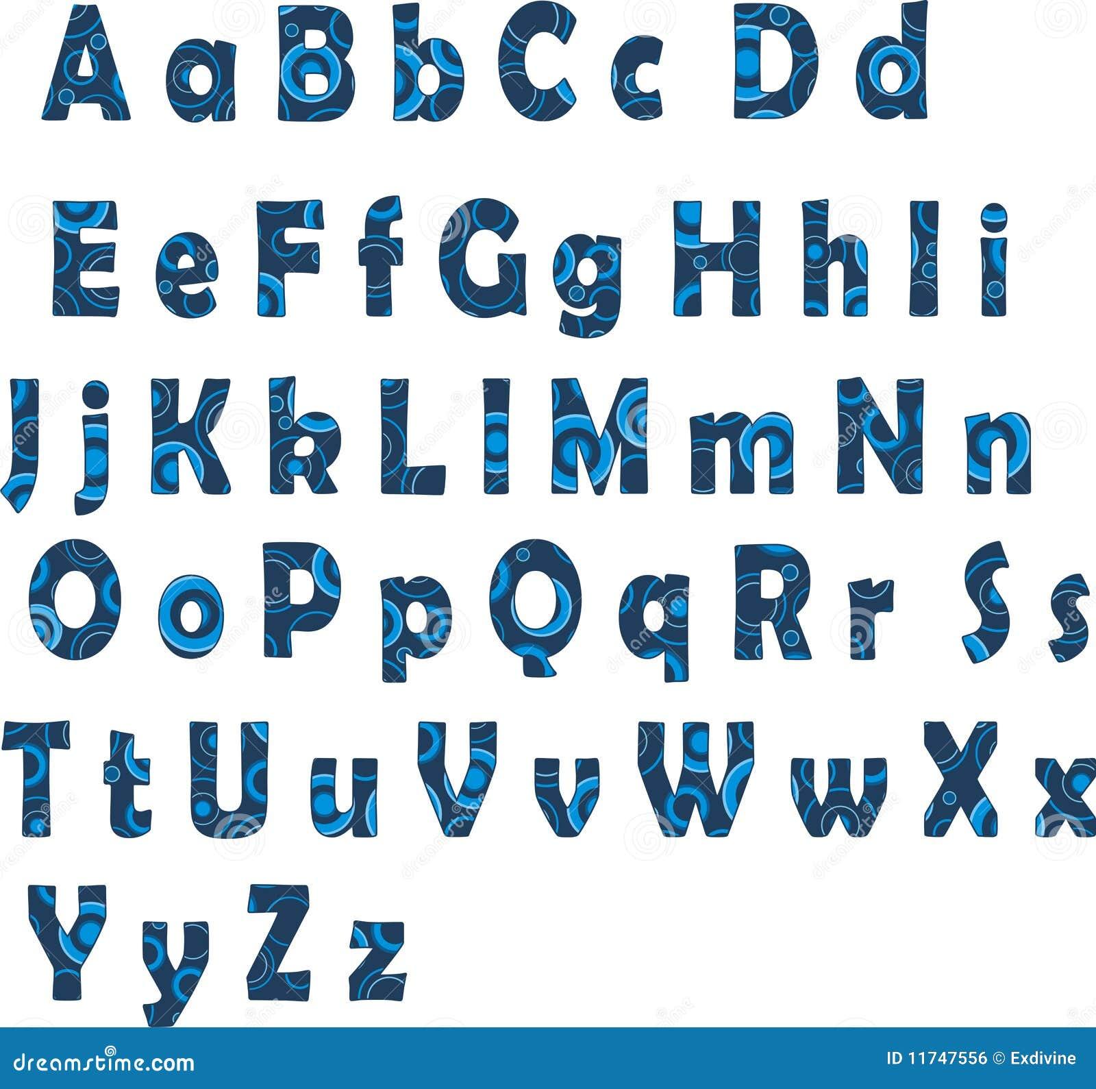 Alfabeto latino blu