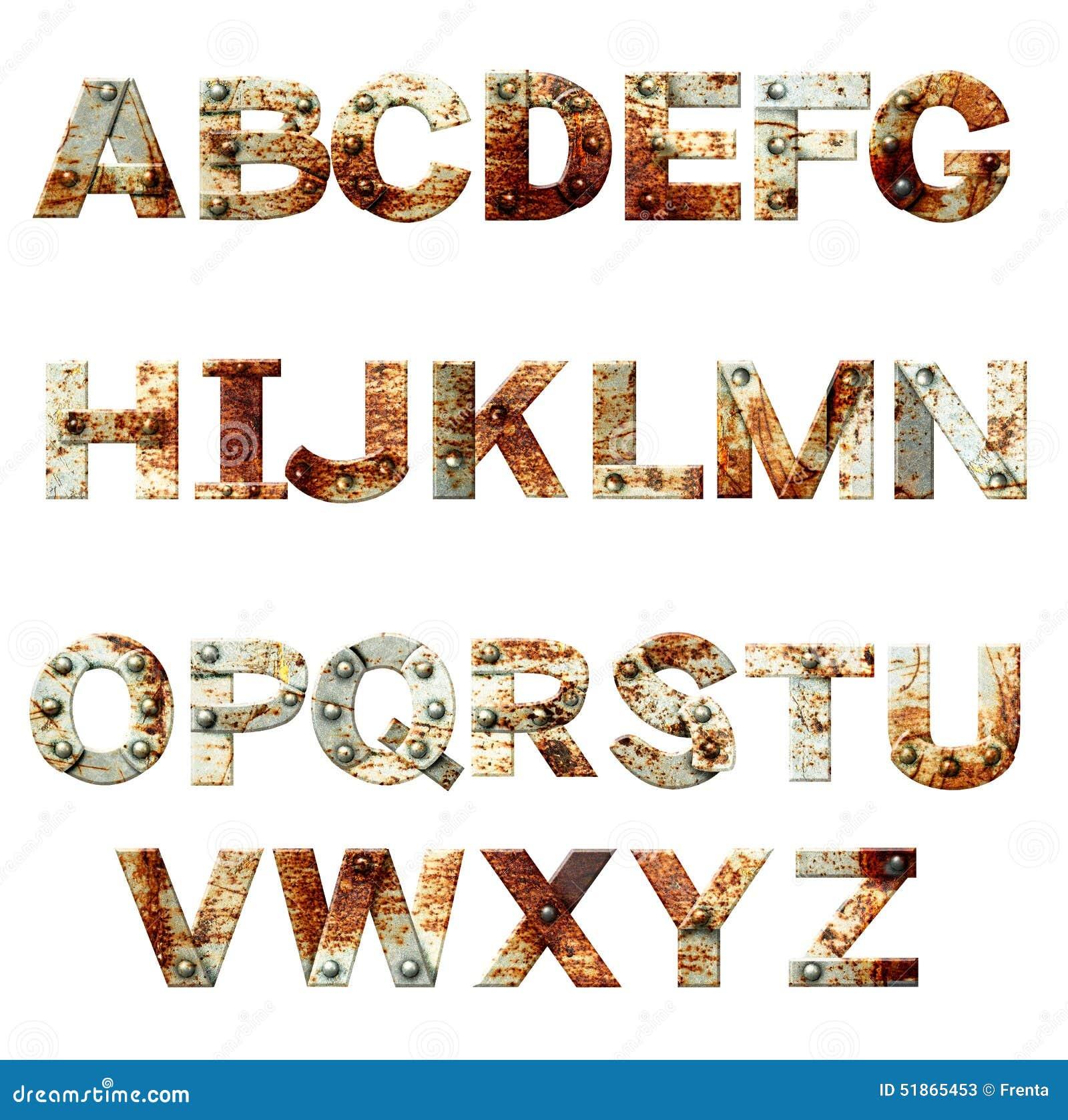 Alfabeto - letras do metal oxidado com rebites