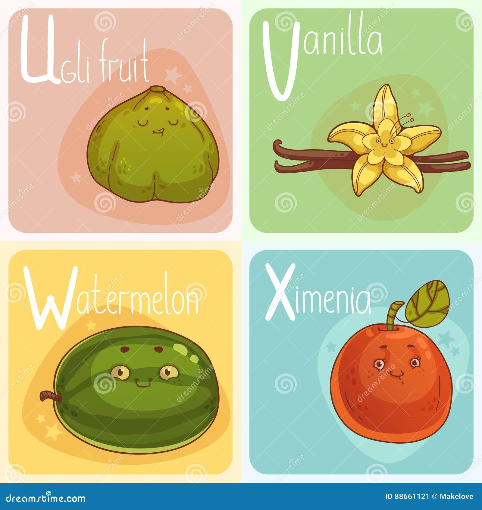 Alfabeto Lindo De La Verdura Y De La Fruta Personajes De