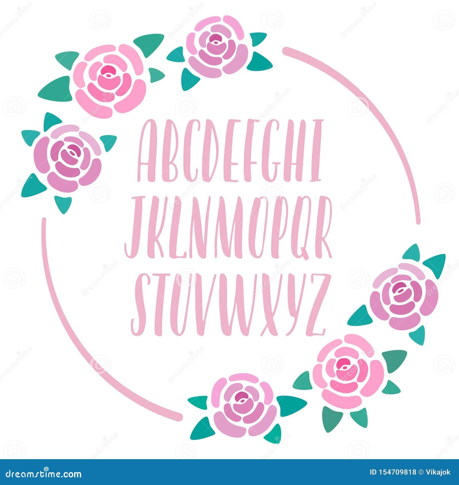 Alfabeto a mano rosado con la decoración de las rosas, letras modernas, letras caligráficas capitales, fuente para las banderas,