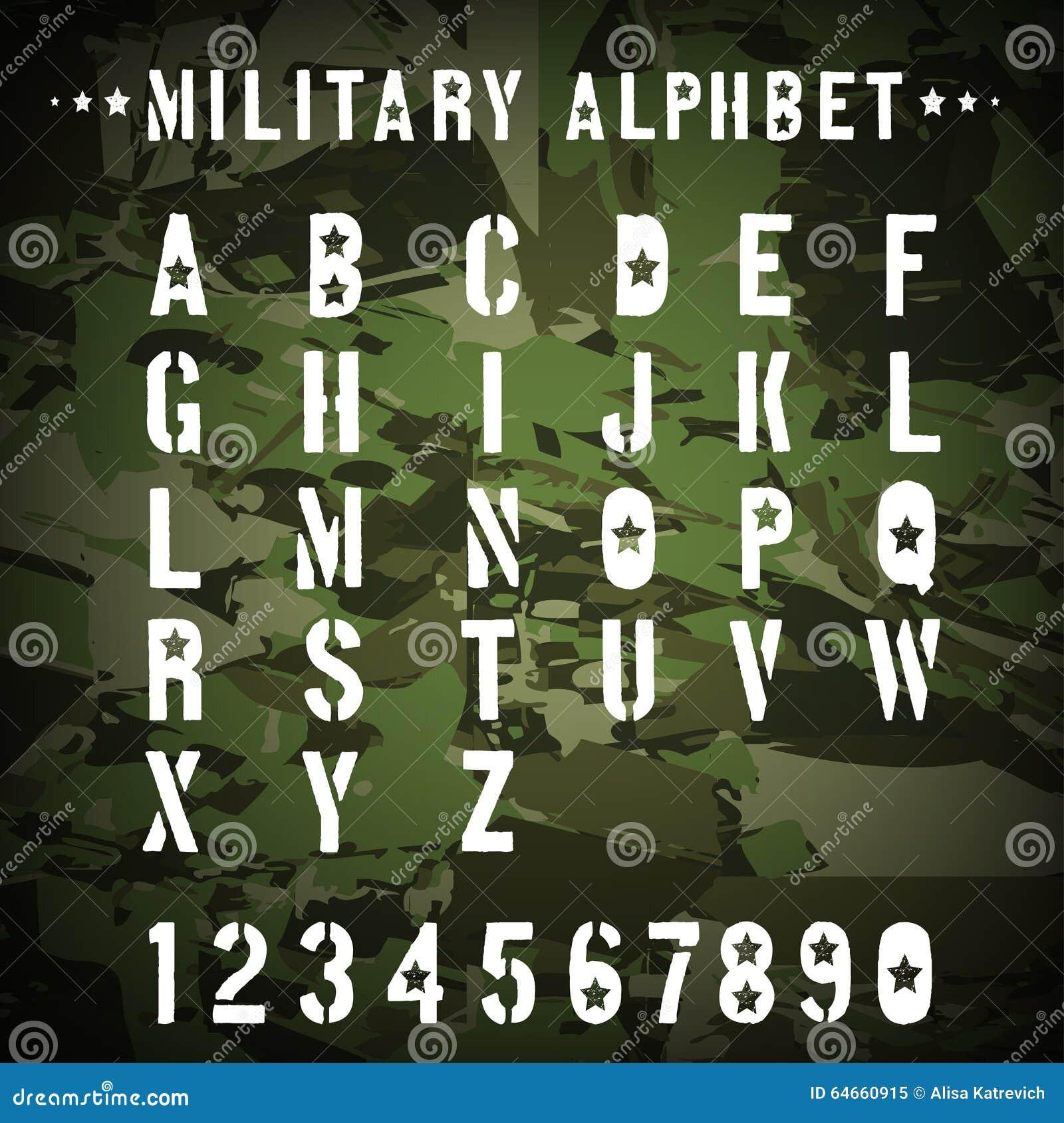 Alfabeto Militar De La Plantilla En Un Camuflaje Ilustración del ...