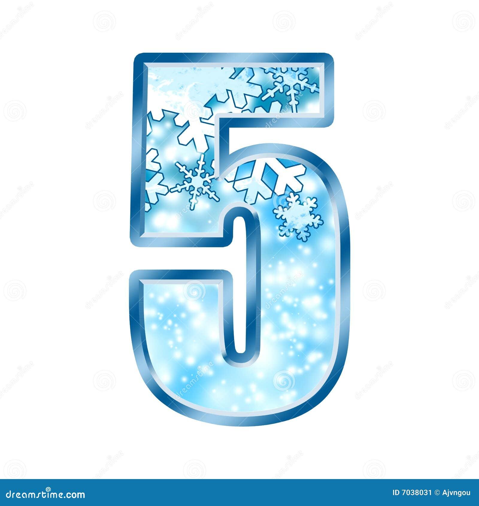 alfabeto número 5 cinco del invierno stock de ilustración