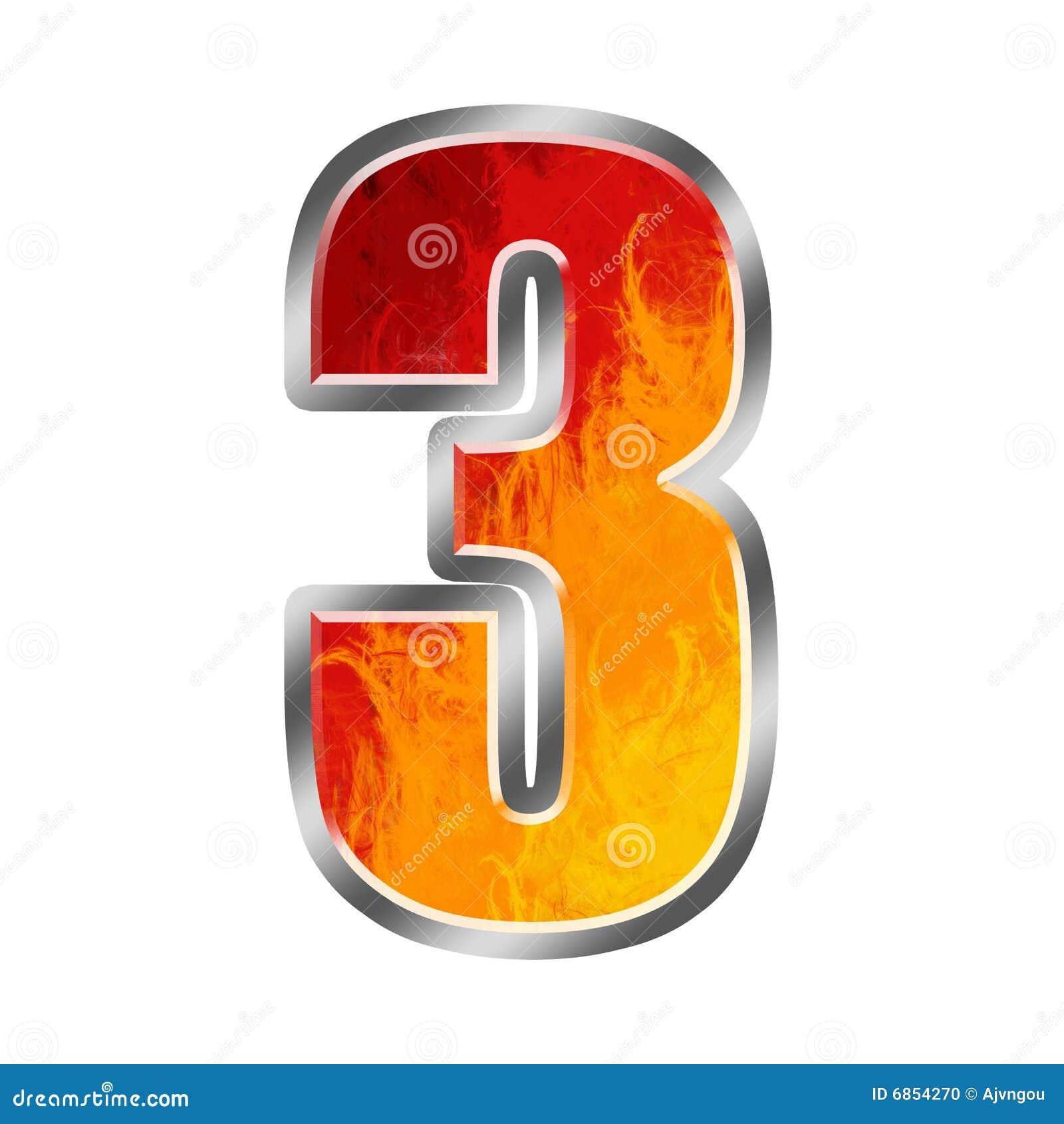 Alfabeto numero 3 tre delle fiamme fotografia stock for Numero di deputati e senatori