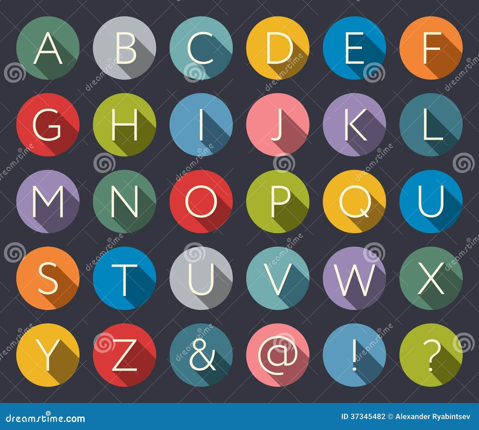 Alfabeto plano de los iconos