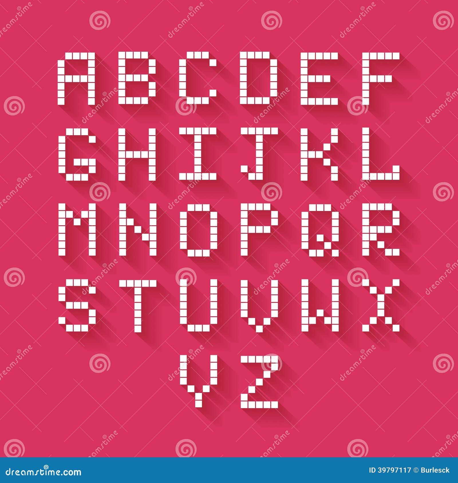 Alfabeto plano del pixel
