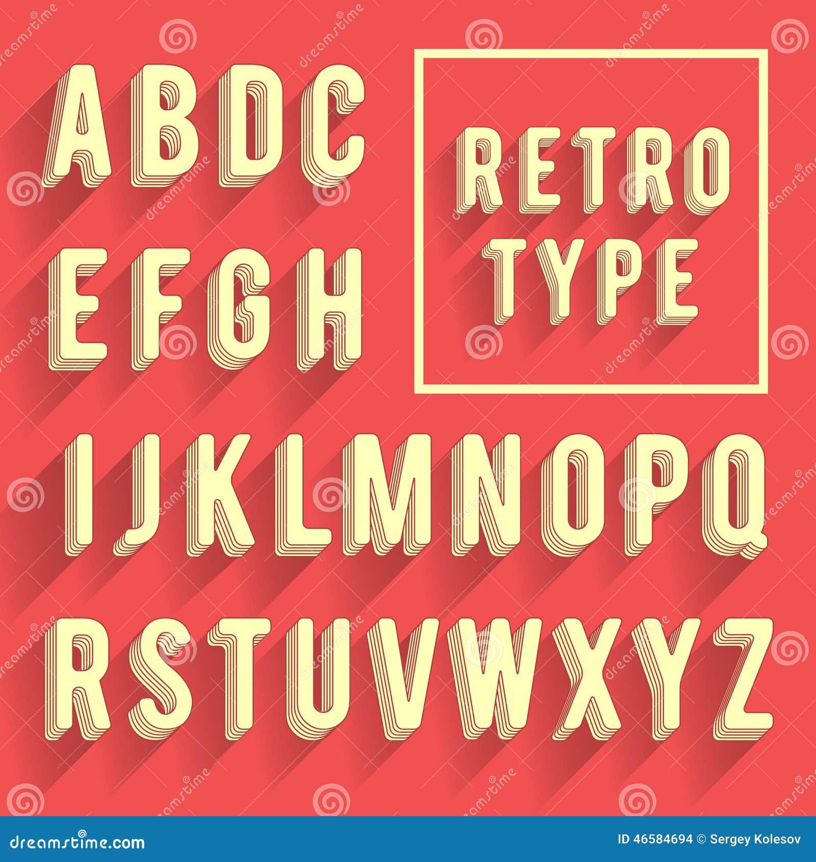Alfabeto retro del cartel Fuente retra con la sombra Alfabeto latino le