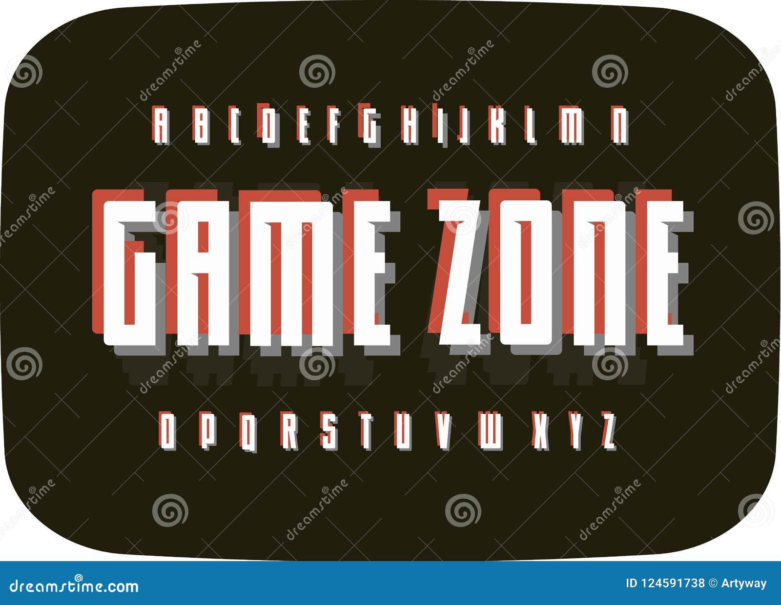 Alfabeto retro del juego en viejo fondo de pantalla negro de la TV Plantilla de la fuente del pixel del vintage de la tipografía