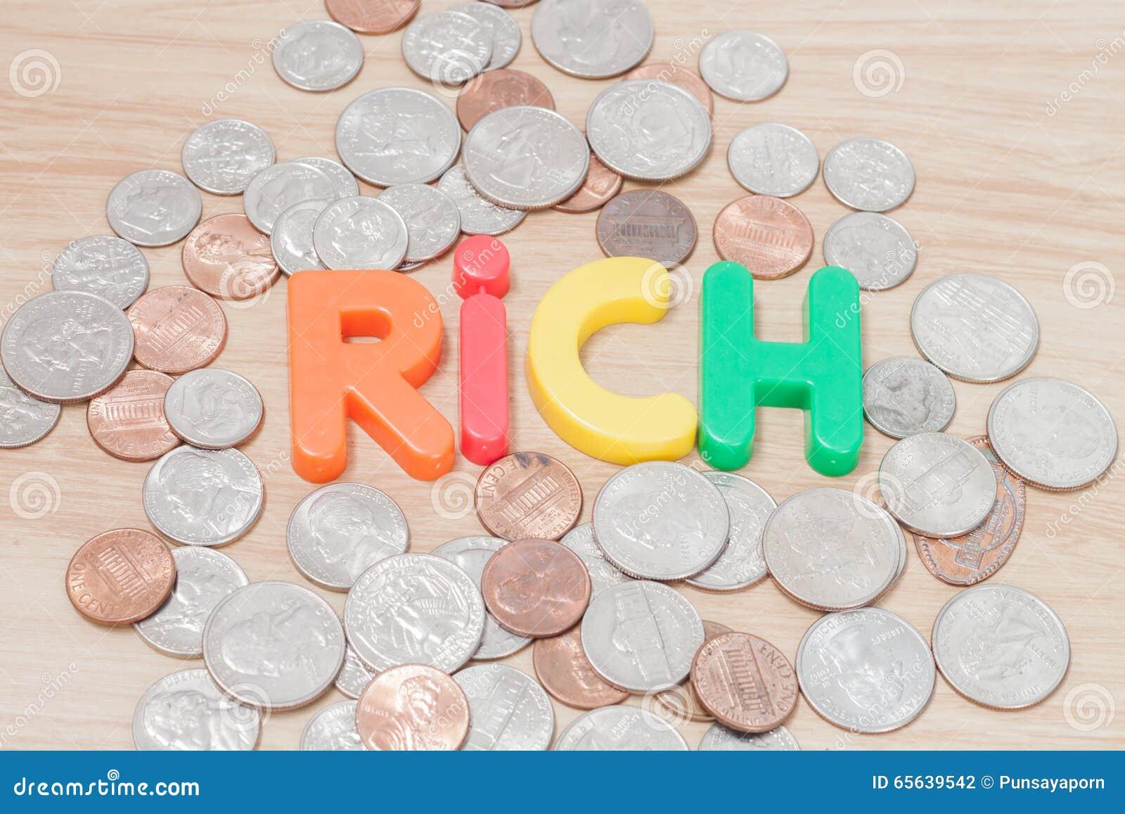 Alfabeto ricco con le varie monete degli Stati Uniti