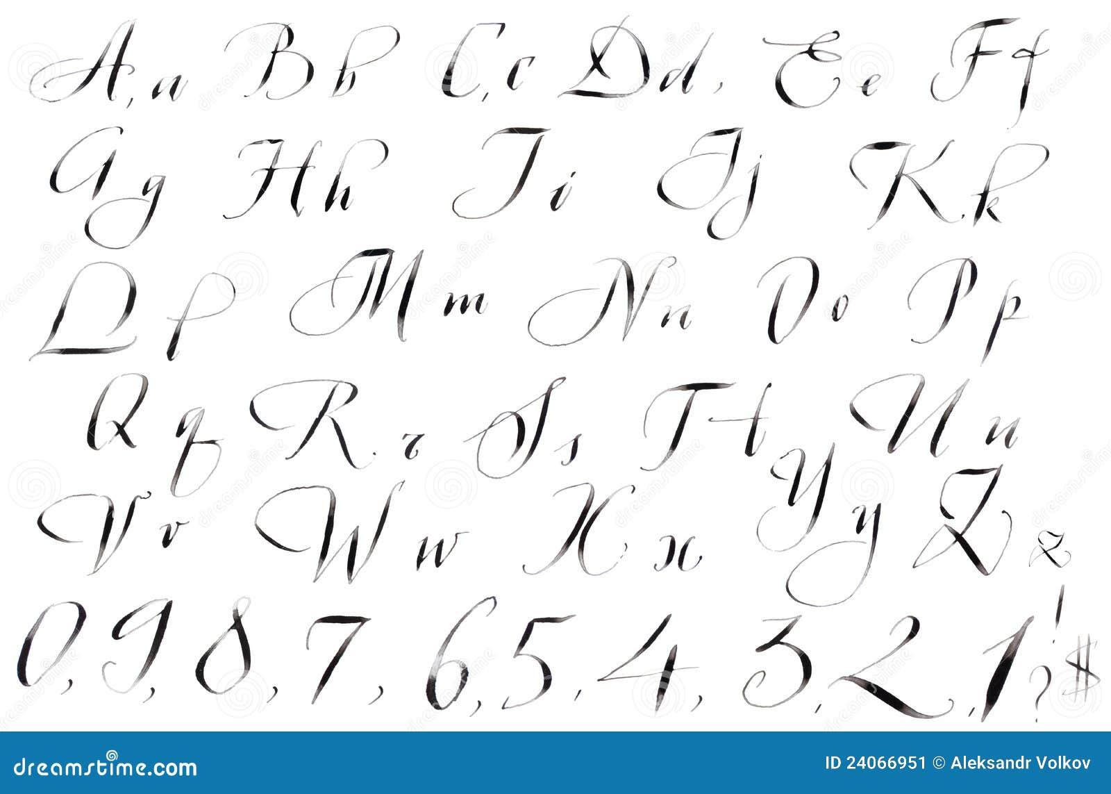 Alfabeto scritto a mano di calligrafia illustrazione di - Lettres alphabet originales ...