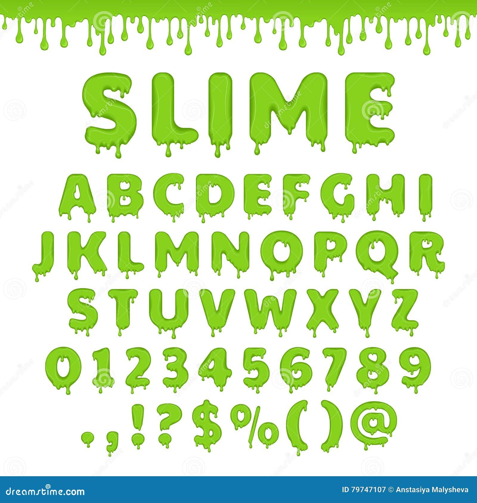 Alfabeto verde del limo del vector