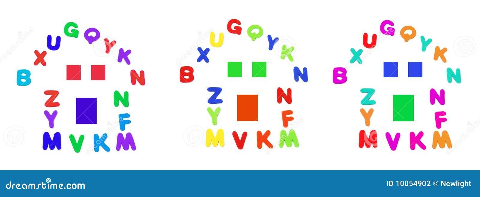 Alfabetos arranjados na forma da casa