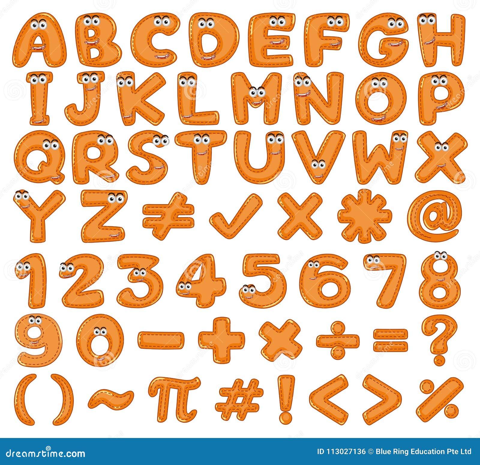 Alfabetos ingleses y números en color marrón