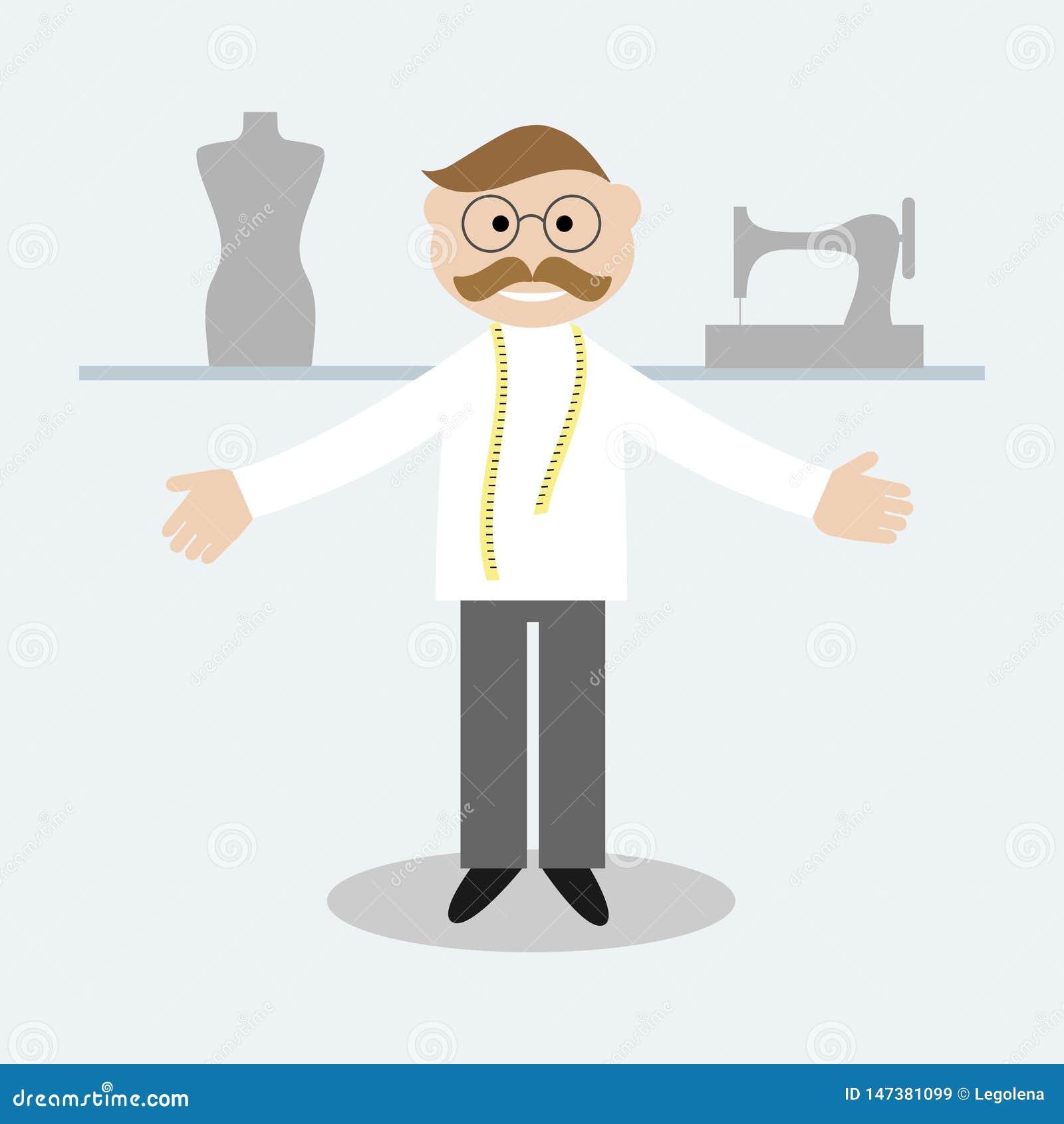 Alfaiate com a fita de medição no pescoço Alfaiate, manequim e máquina de costura