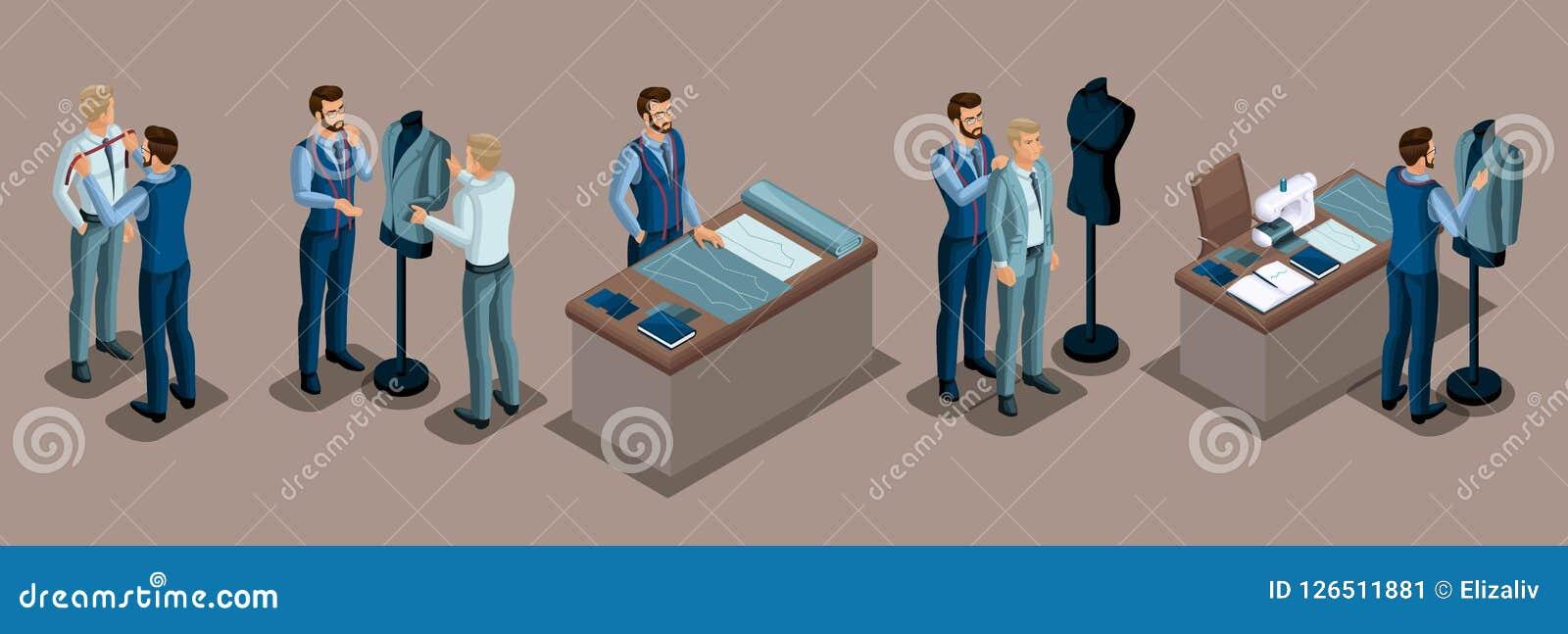 Alfaiate isométrico, trabalho com um cliente em uma oficina da costura, corte, dimensões, preparando a roupa, encaixe, máquina de