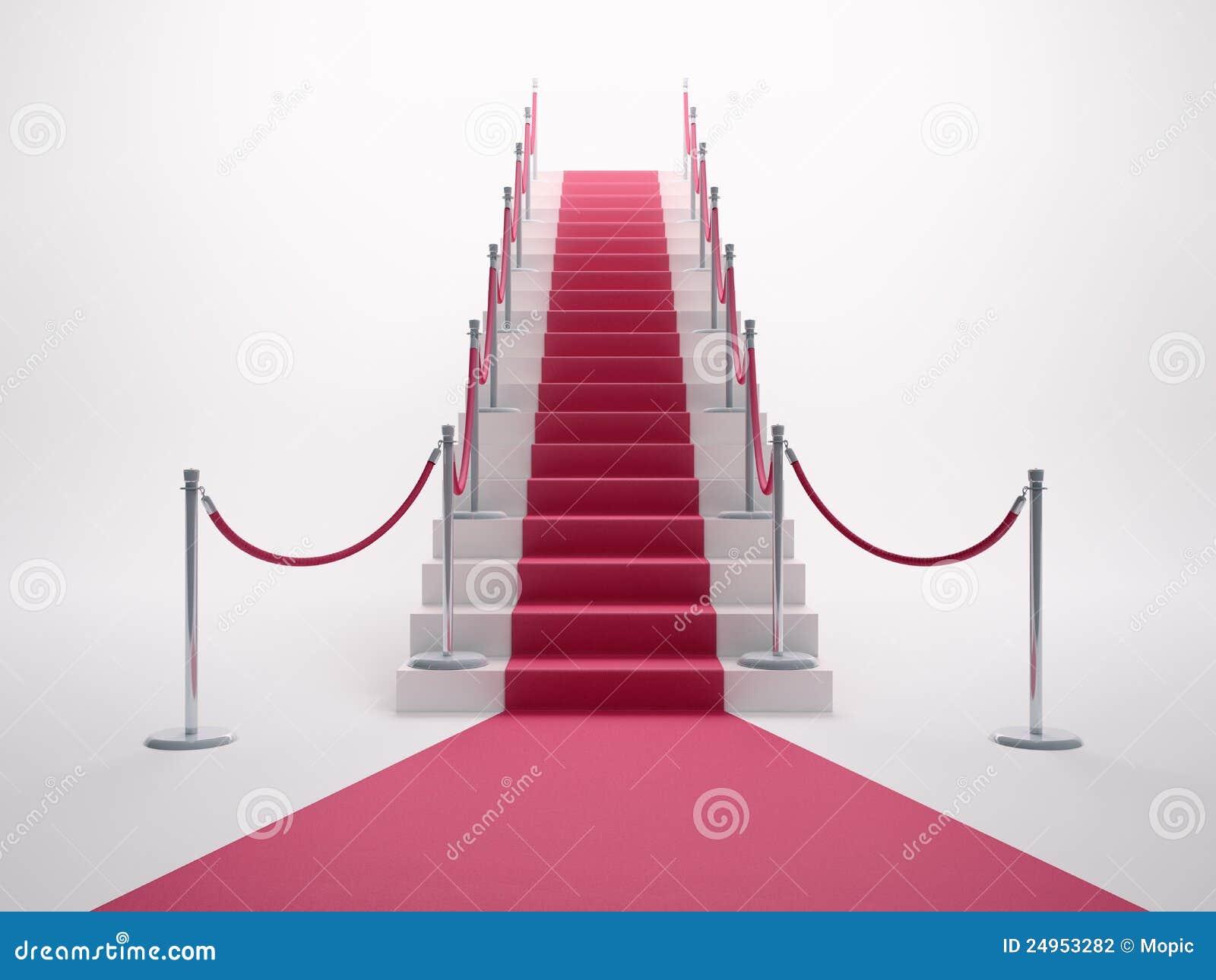 Alfombra Roja Que Conduce Las Escaleras Stock de ilustración ...
