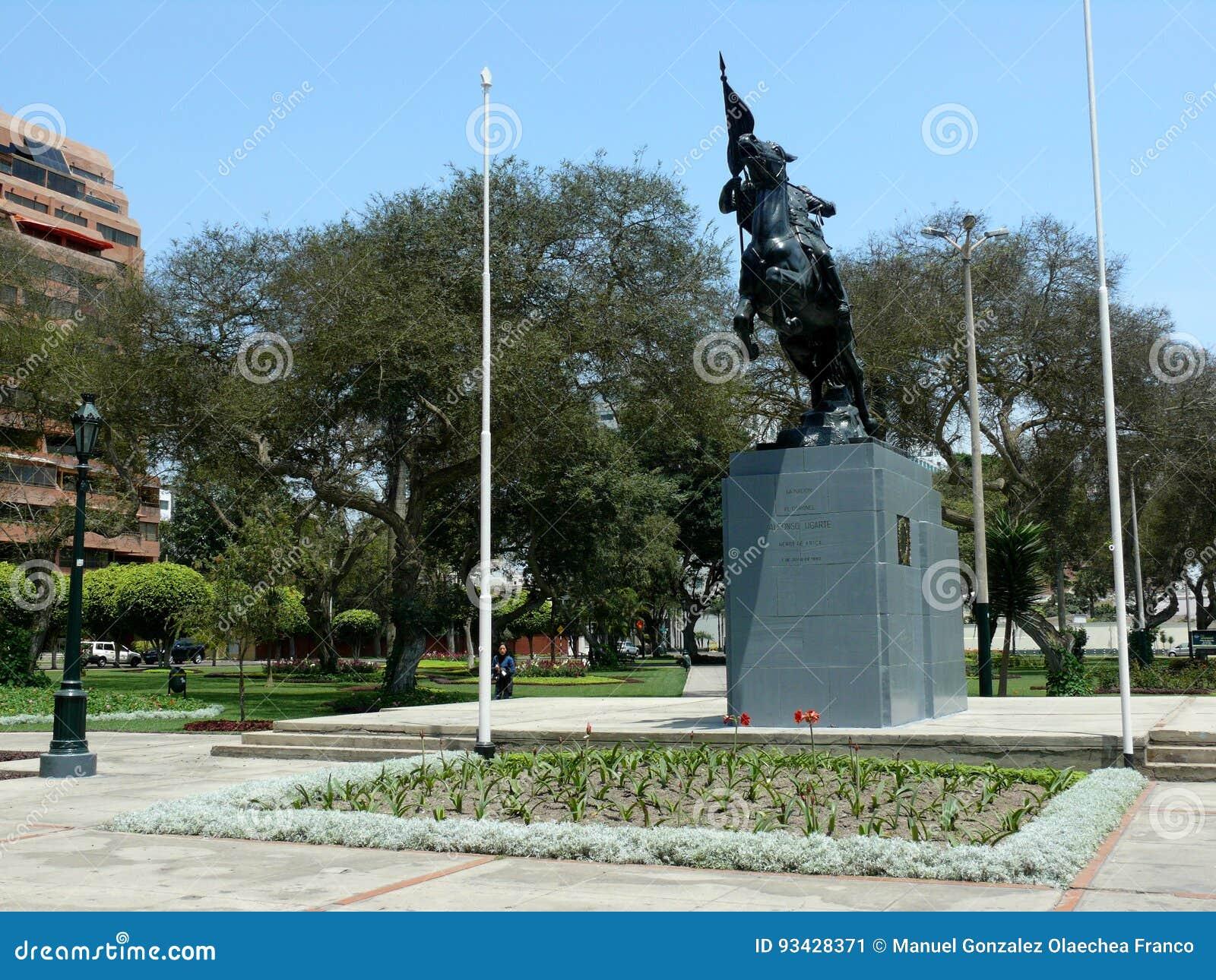 Alfonso Ugarte Statue In Alfonso Ugarte Park Lima Editorial Photo