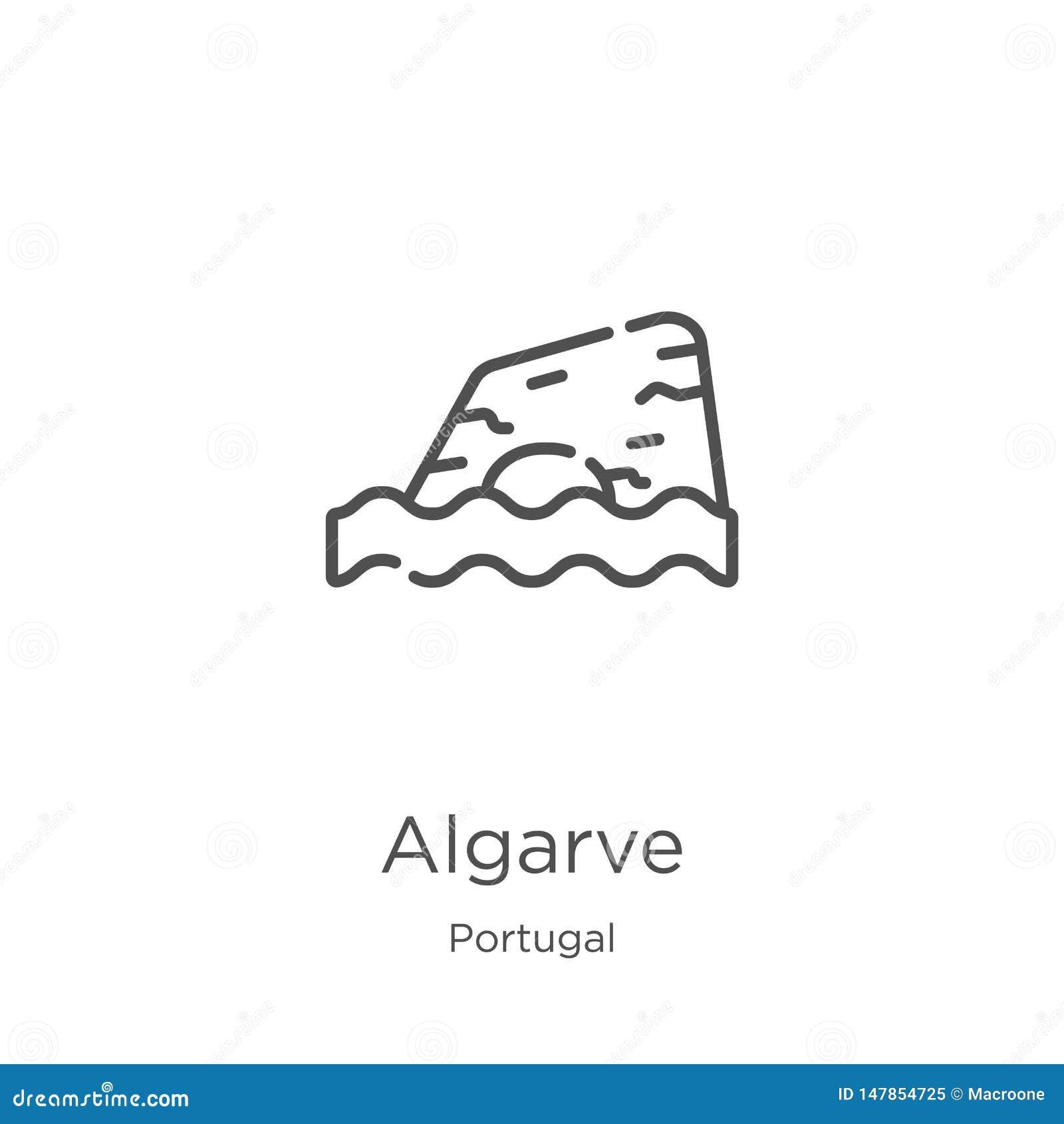 Algarve ikony wektor od Portugal kolekcji Cienka kreskowa Algarve konturu ikony wektoru ilustracja Kontur, cienieje kreskową Alga