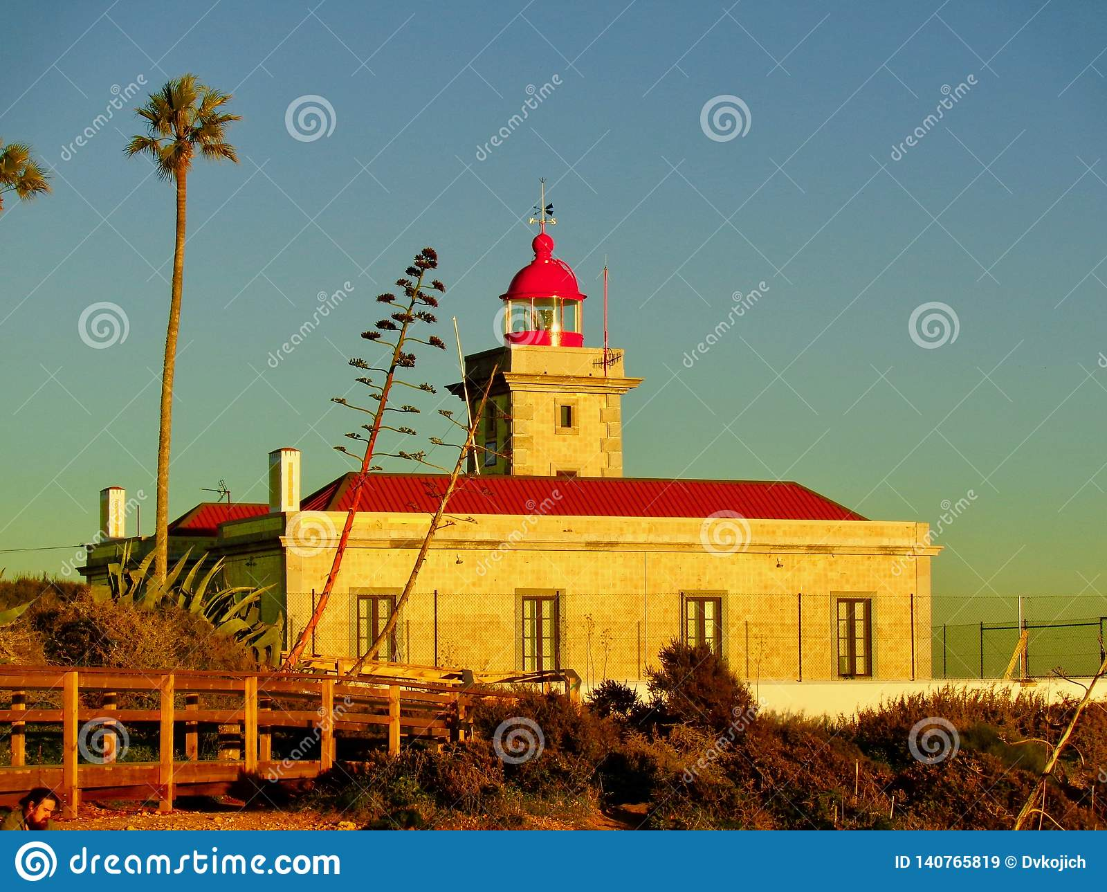 Sunset shot of lighthouse in Portugal