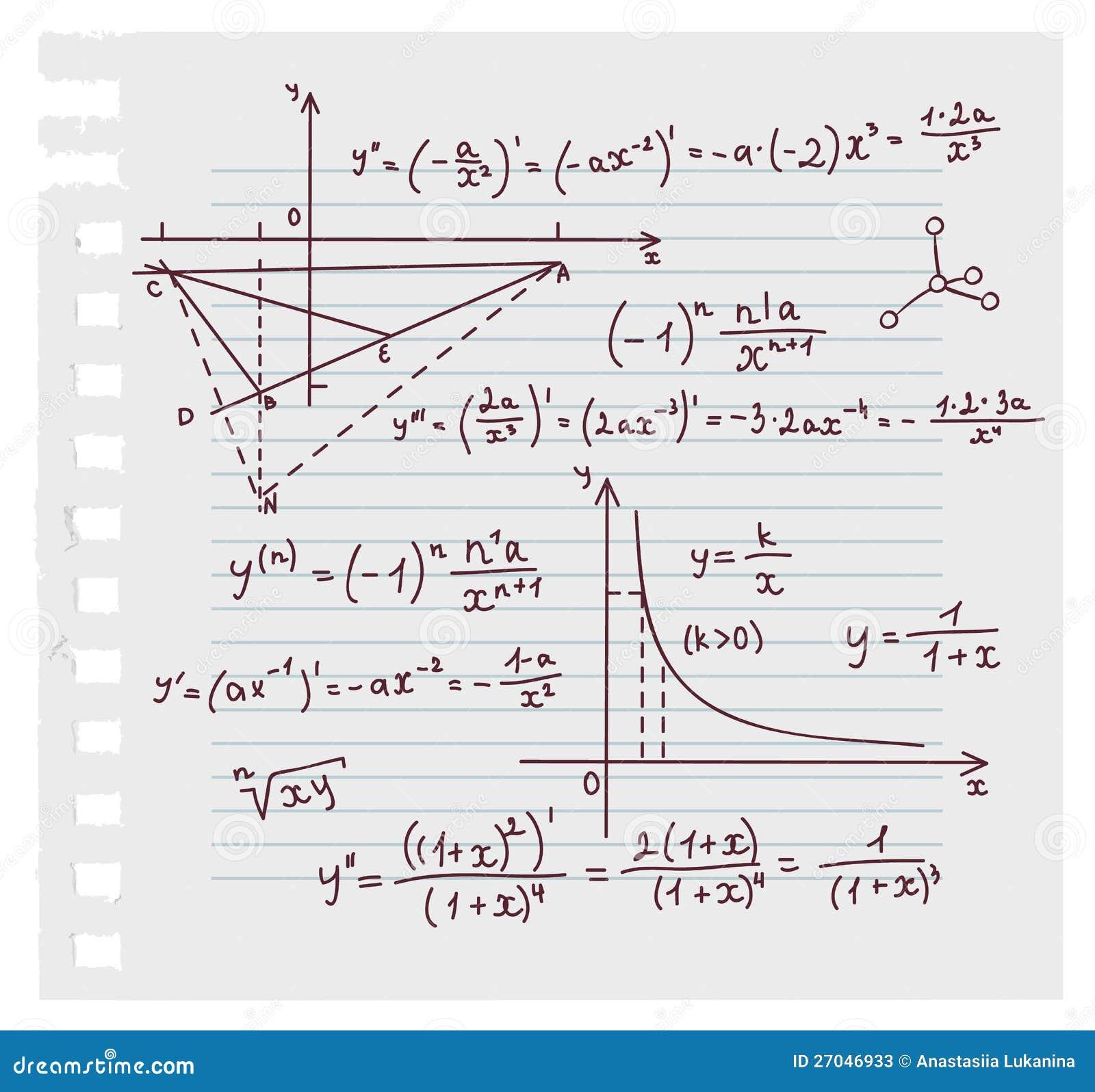 Algebra doodle background stock vector  Illustration of