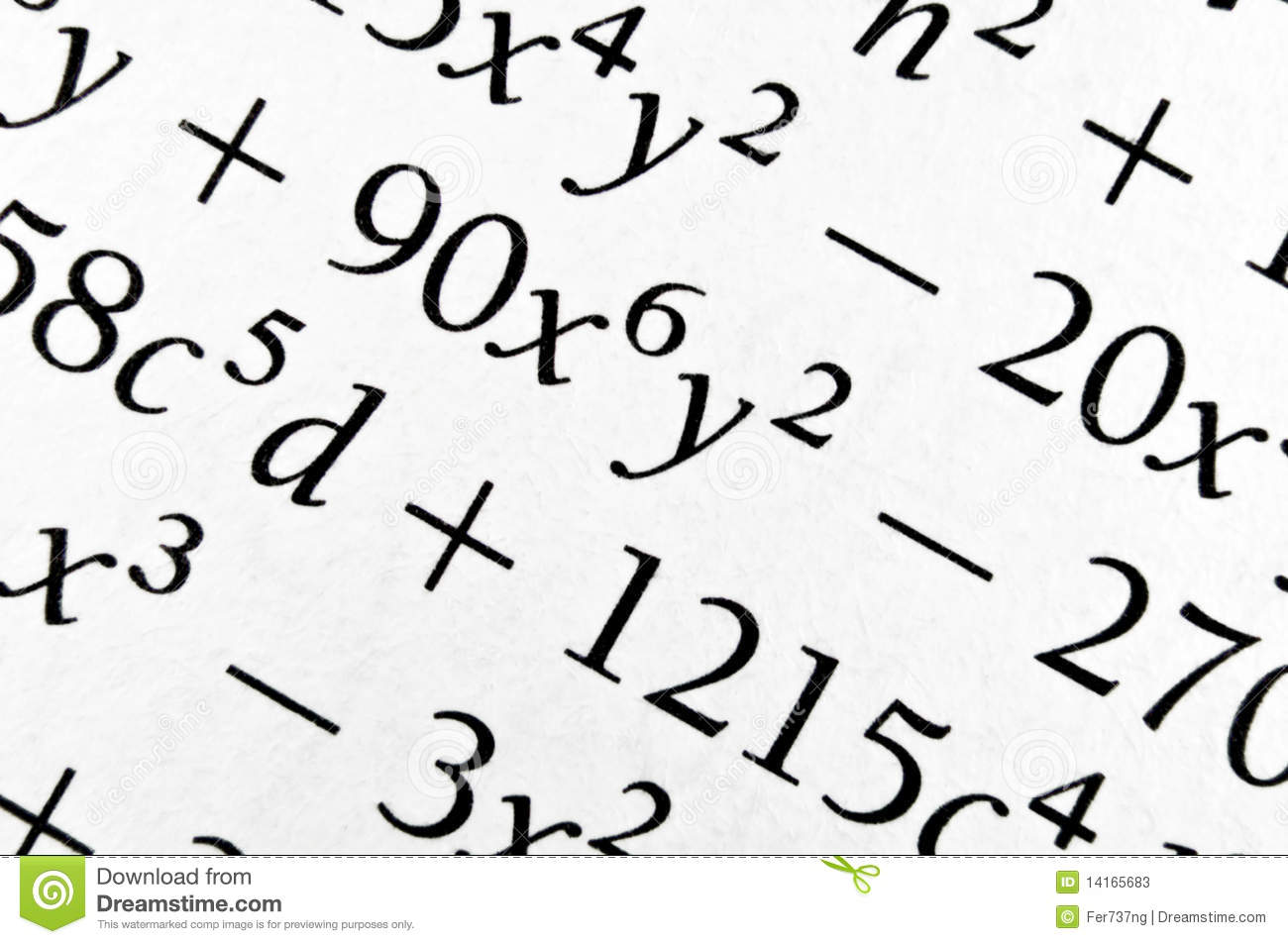Close up of an old textbook with algebra formulas. Background of ...