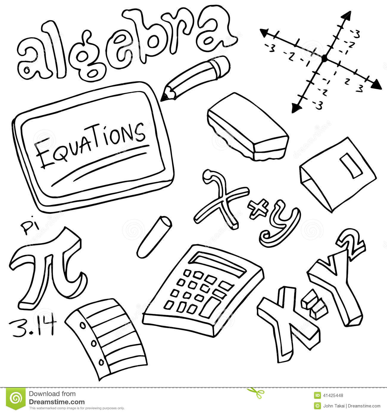 Algebra Symbols And Objects Stock Vector - Image: 41425448
