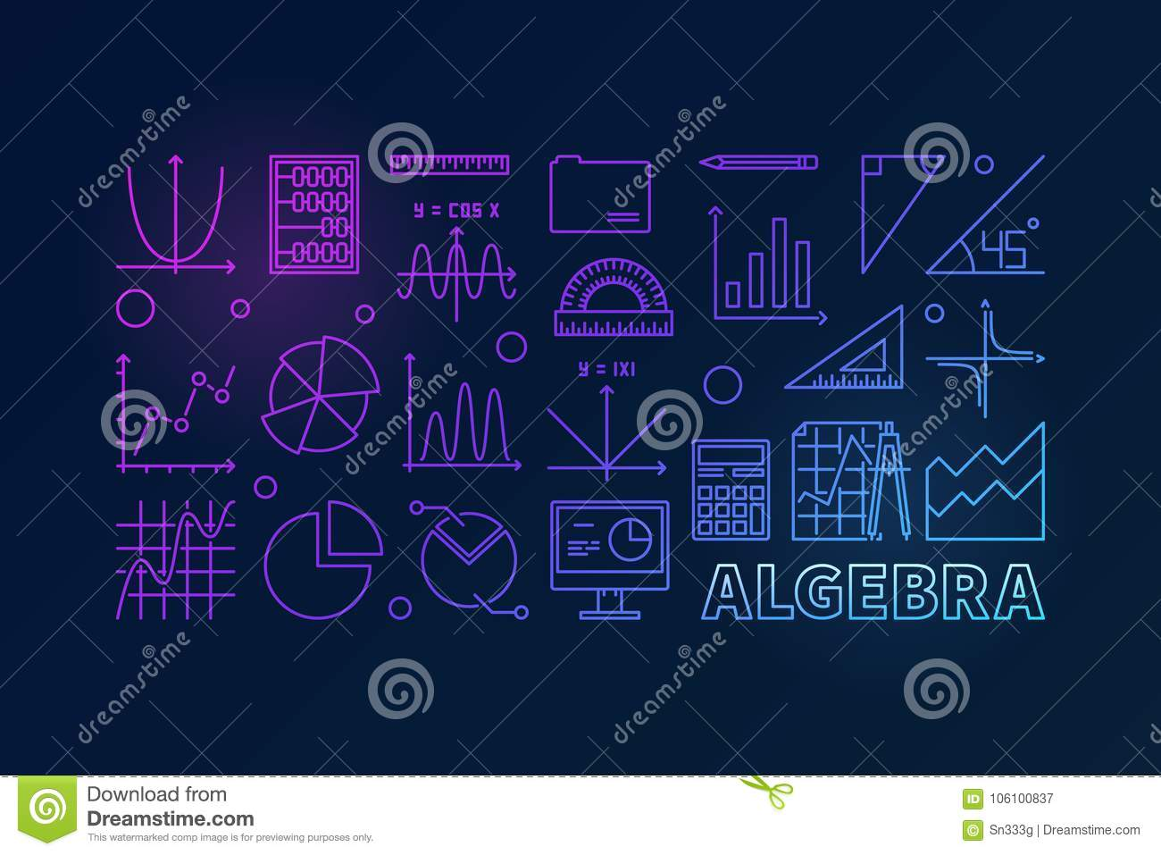 algebra vector colorful outline illustration stock vector