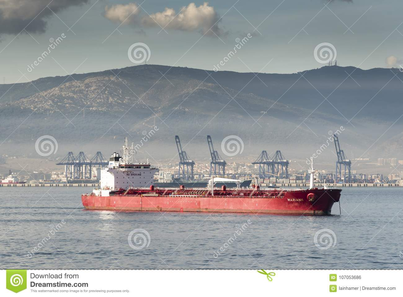 Algeciras Container Port And Tanker From Queen Elizabeth Editorial