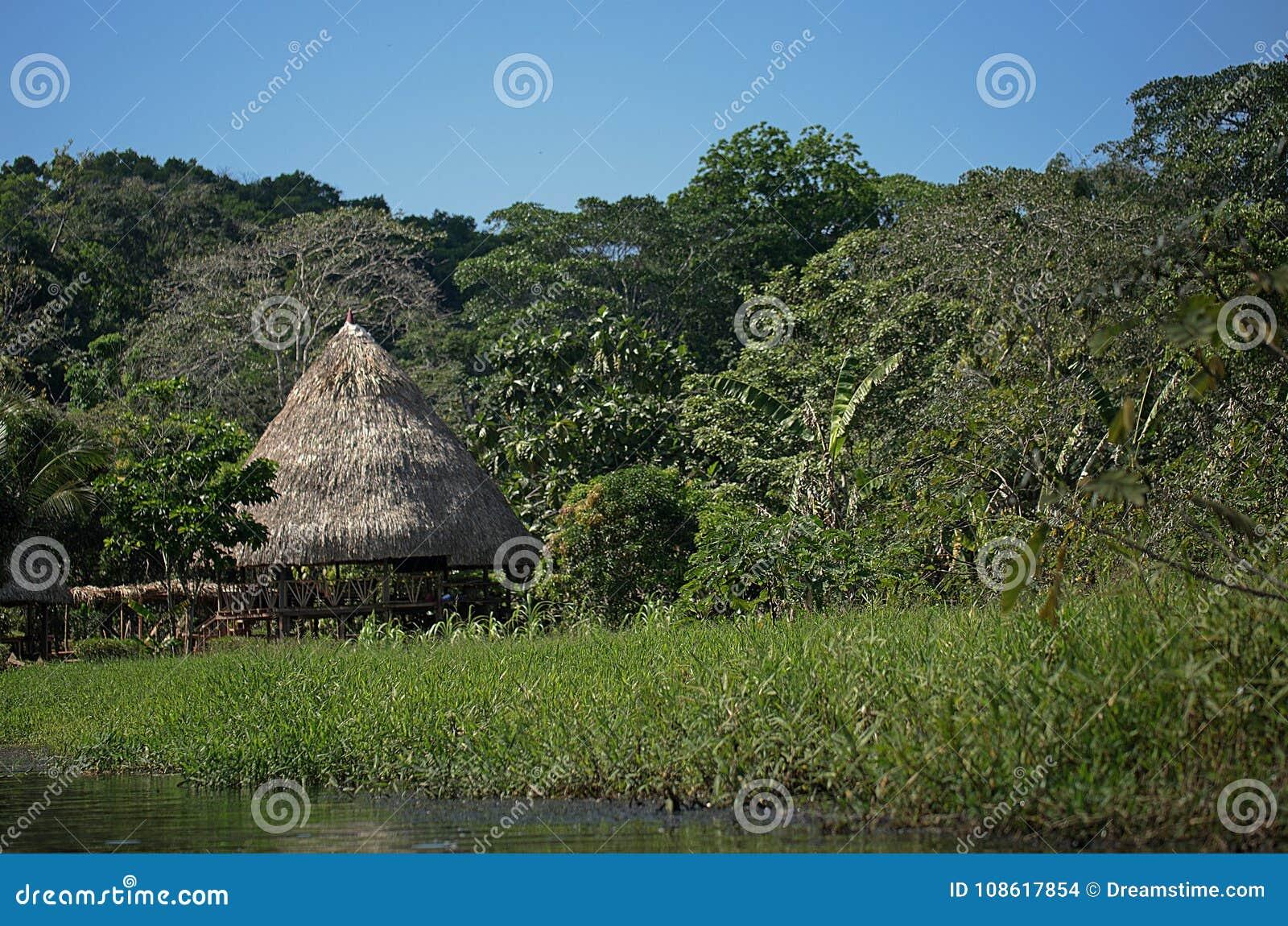 Algemeen schot van tropische cabine in de wildernis met rivier