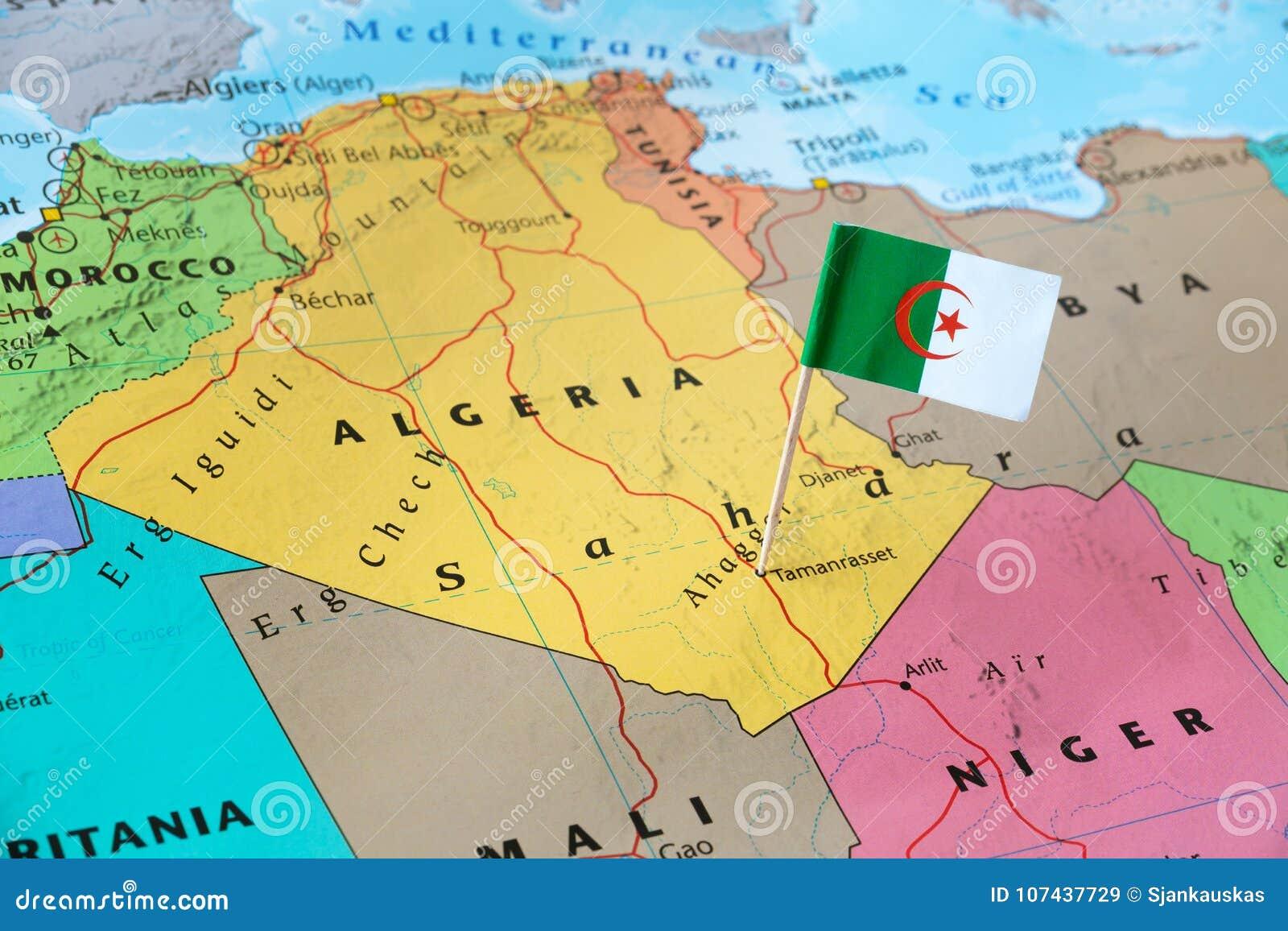 Algeria Flag Pin On Map Stock Image Image Of Holidays 107437729