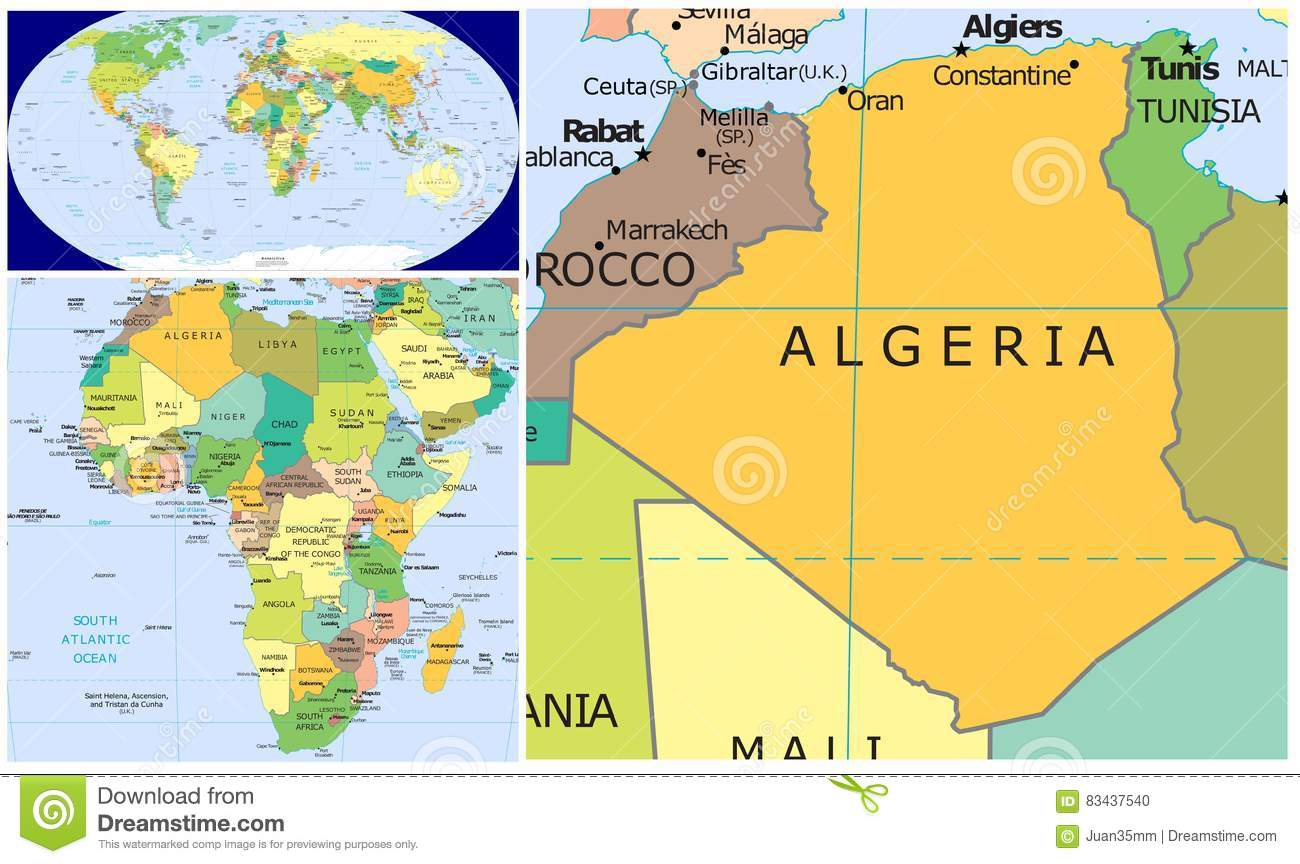 Algeria & World stock illustration. Illustration of country ...