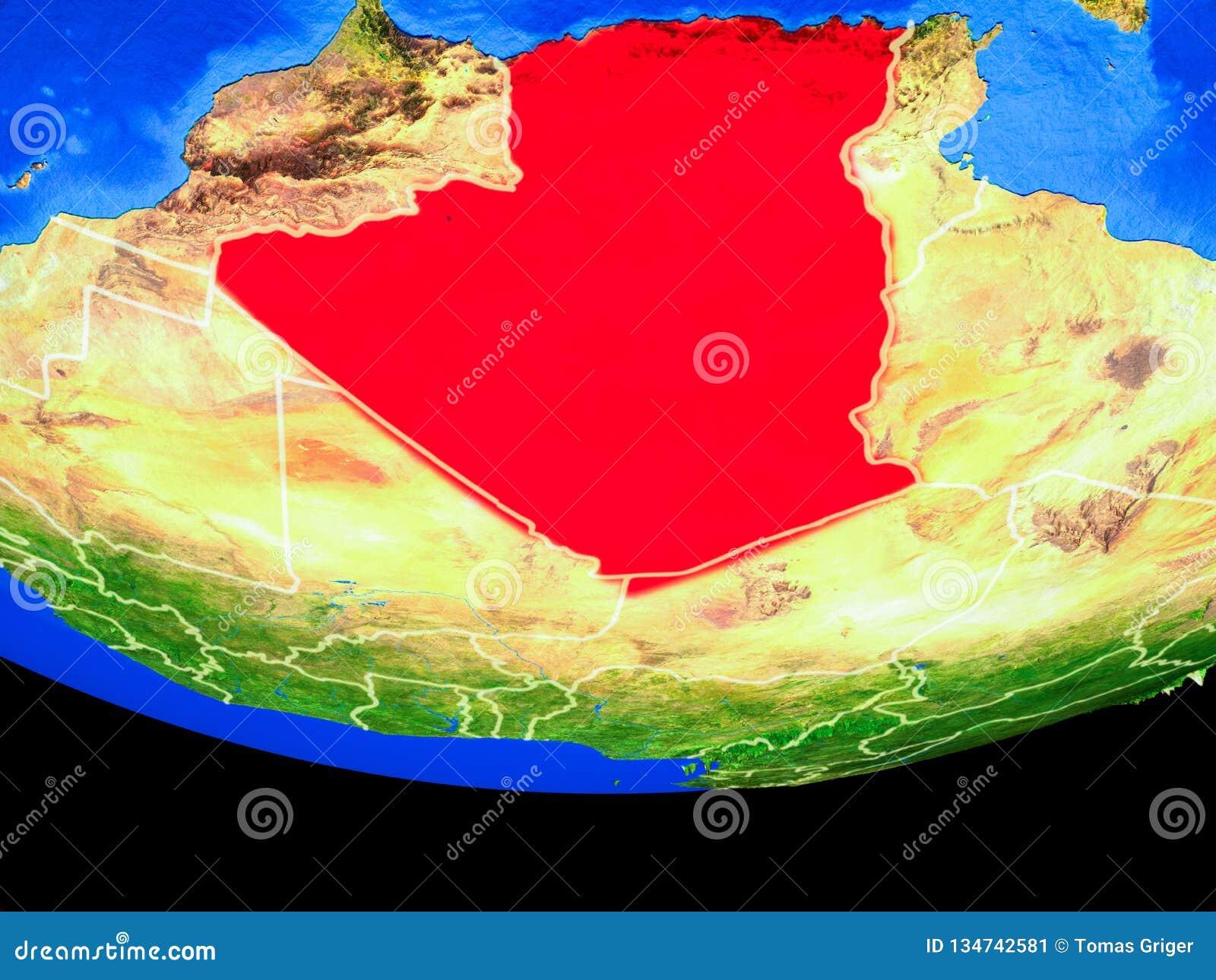 Algerien vom Raum auf Erde