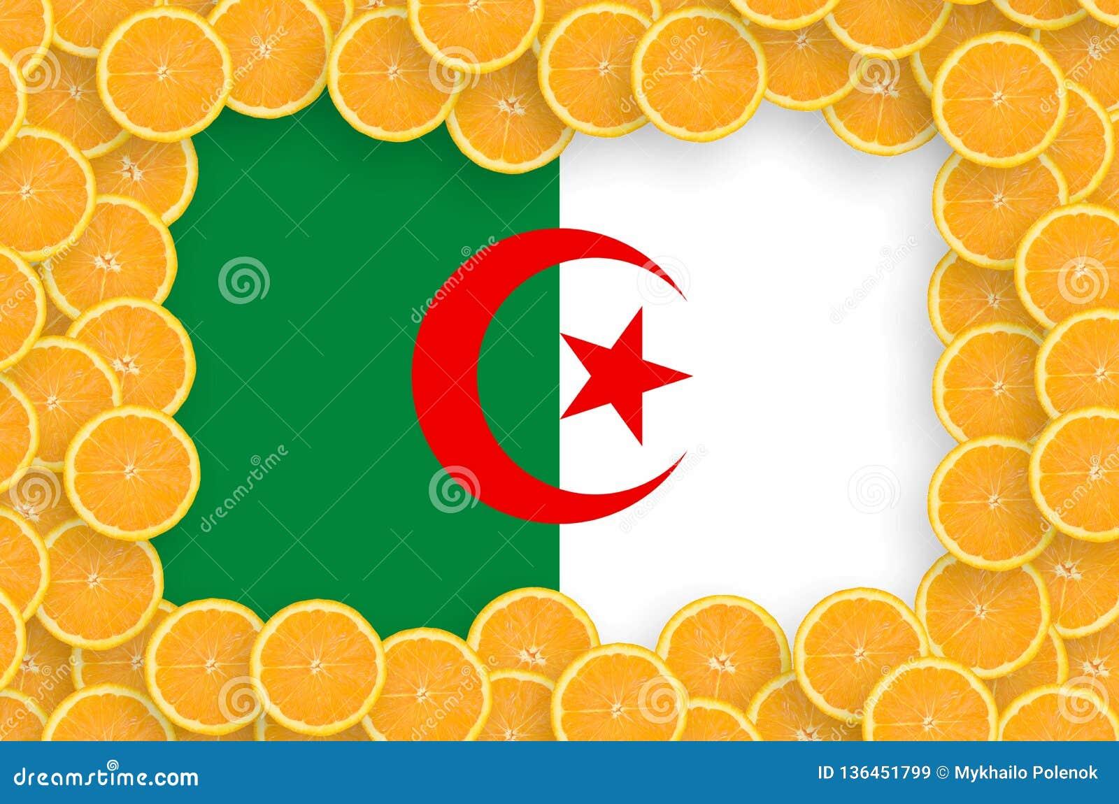 Algeriet flagga i ny citrusfruktskivaram