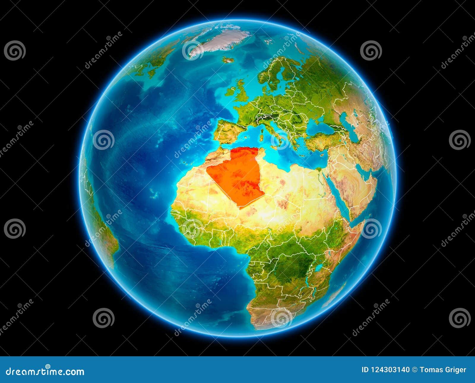 Algerije ter wereld van ruimte