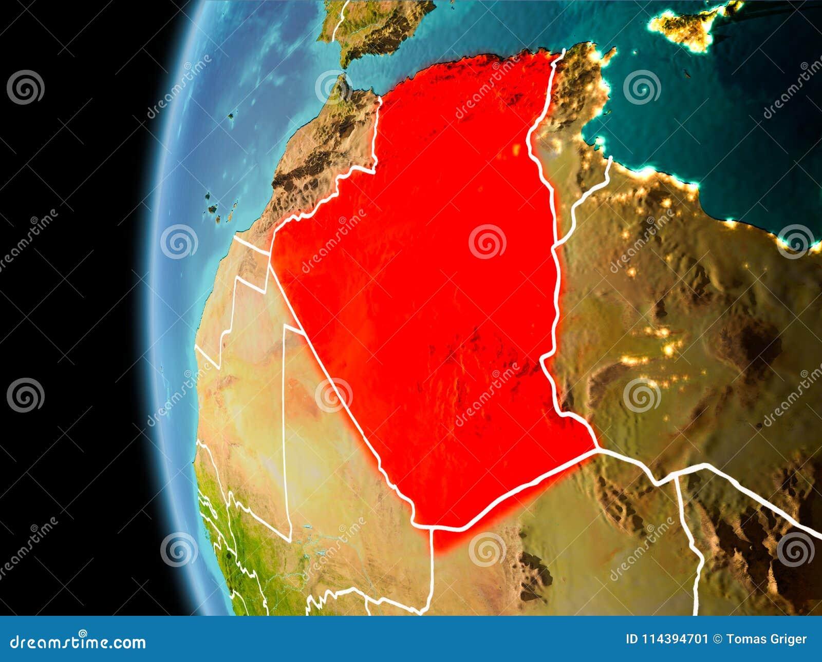 Algerije van ruimte in avond
