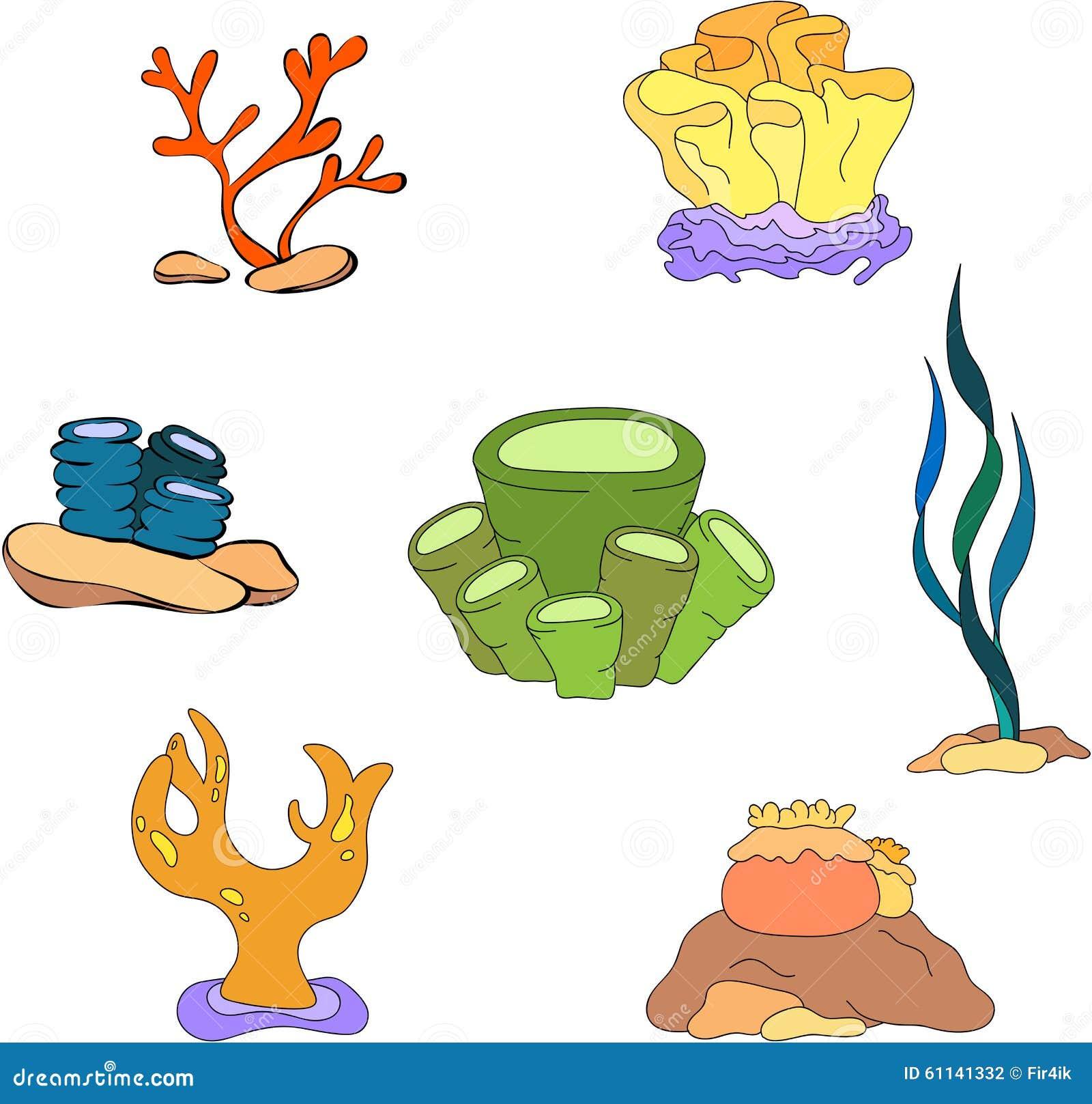 Alghe Dei Coralli Del Fumetto Illustrazione Vettoriale