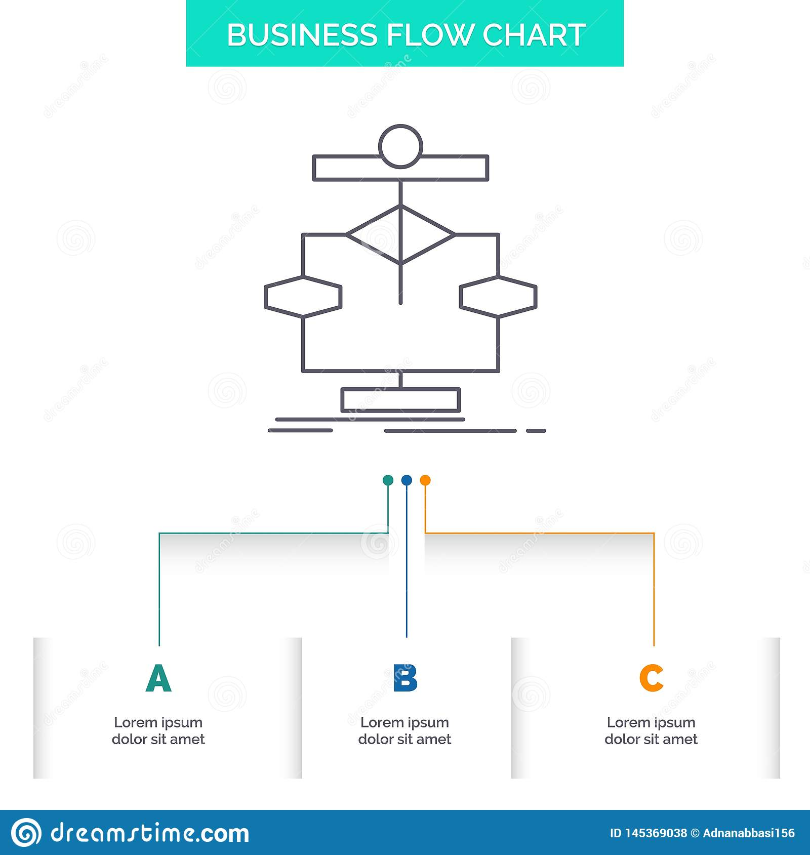 Algorithm, chart, data, diagram, flow Business Flow Chart Design with 3 Steps. Line Icon For Presentation Background Template