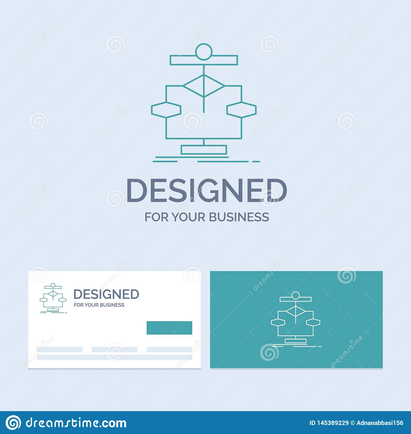 Algorithm, chart, data, diagram, flow Business Logo Line Icon Symbol for your business. Turquoise Business Cards with Brand logo