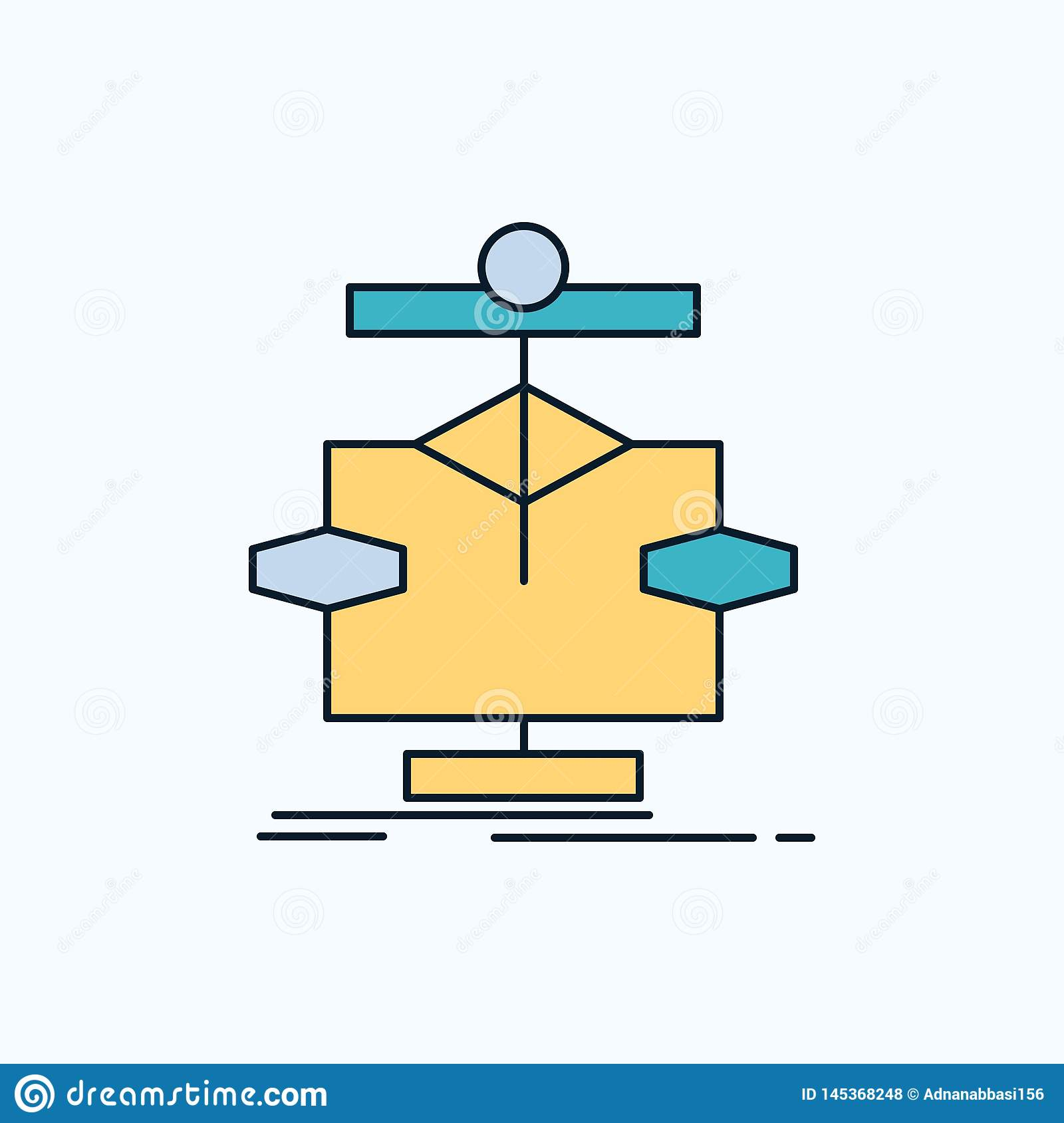 Algorithm, chart, data, diagram, flow Flat Icon. green and Yellow sign and symbols for website and Mobile appliation. vector