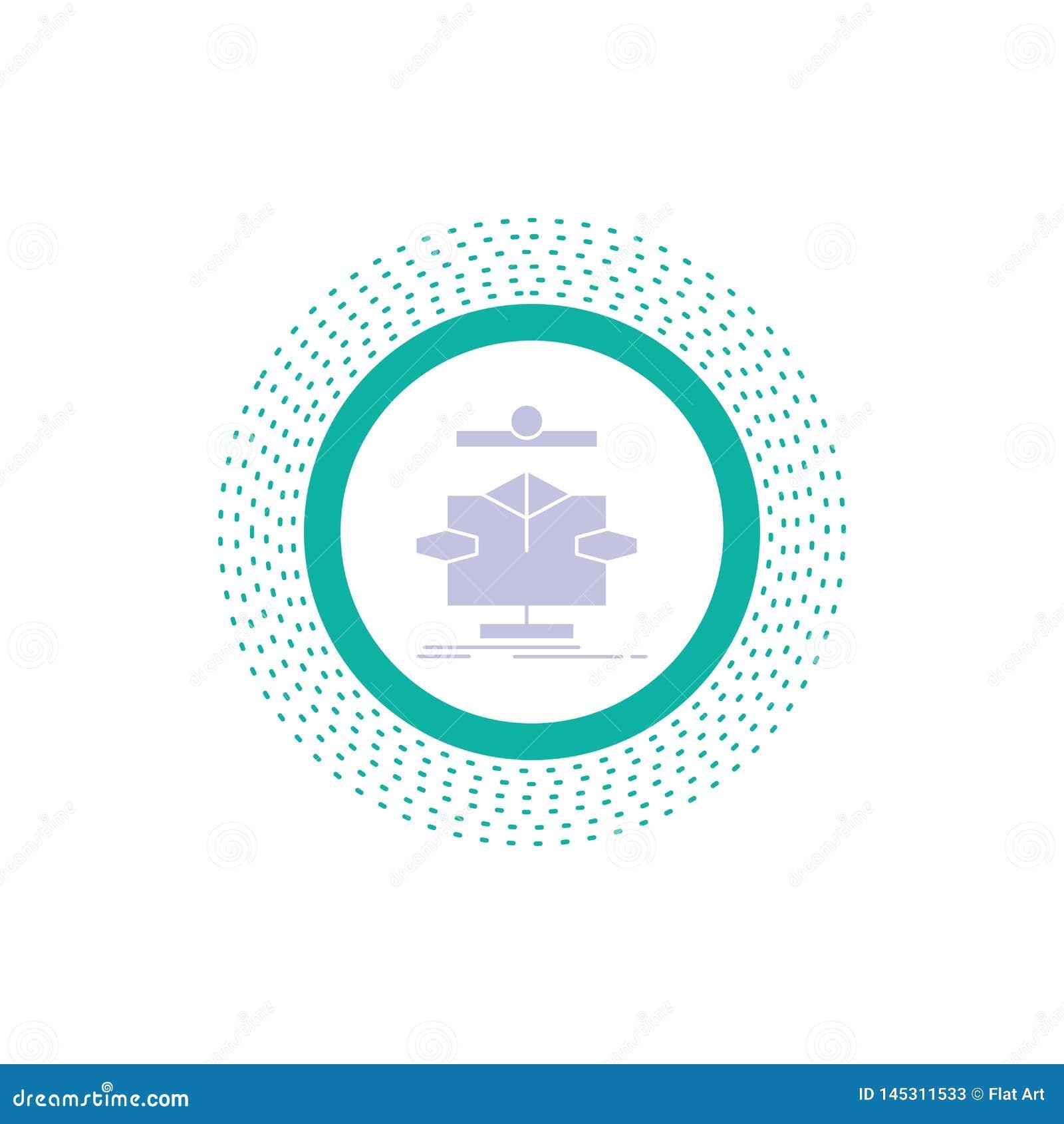 Algorithm, chart, data, diagram, flow Glyph Icon. Vector isolated illustration