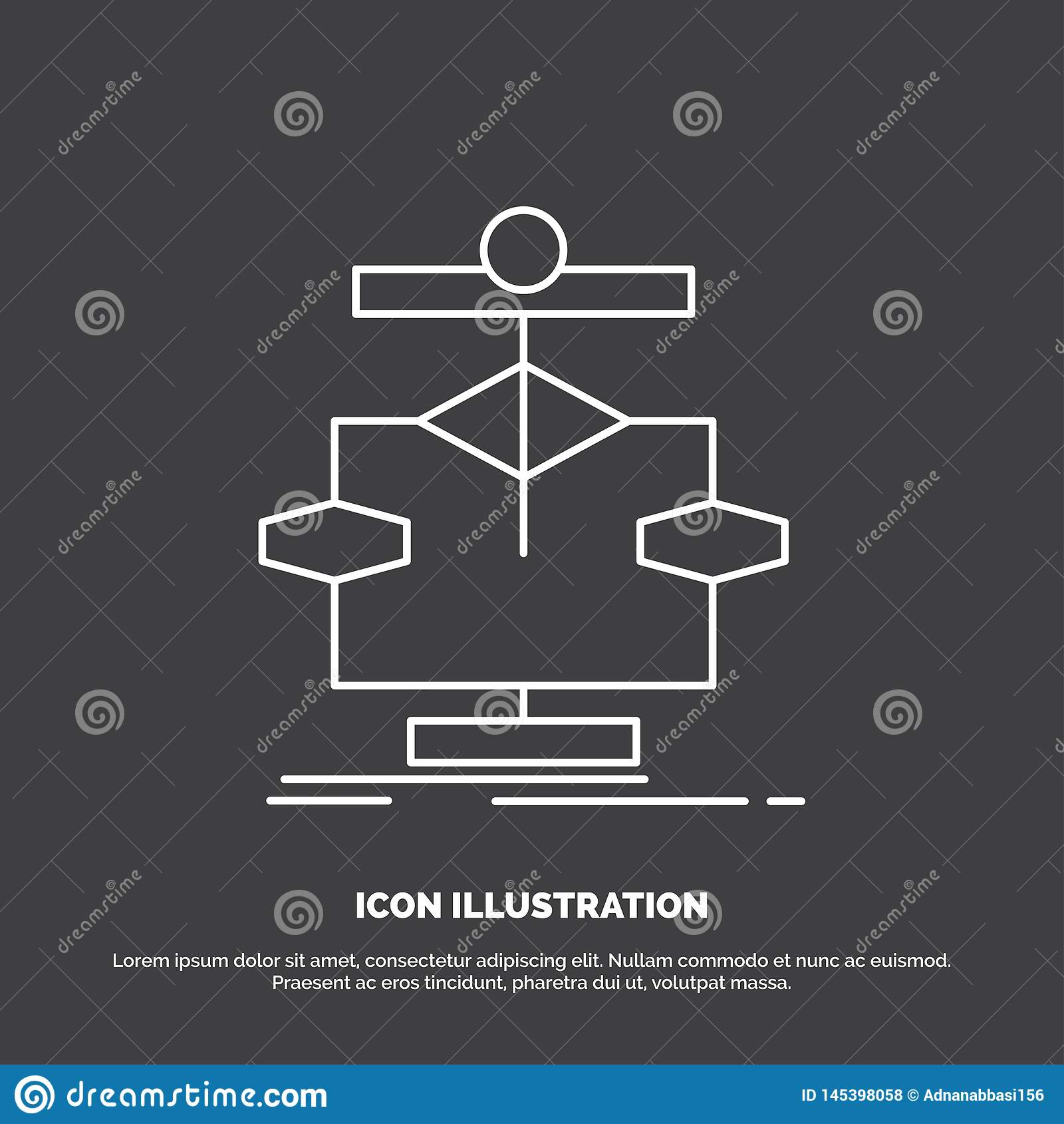Algorithm, chart, data, diagram, flow Icon. Line vector symbol for UI and UX, website or mobile application