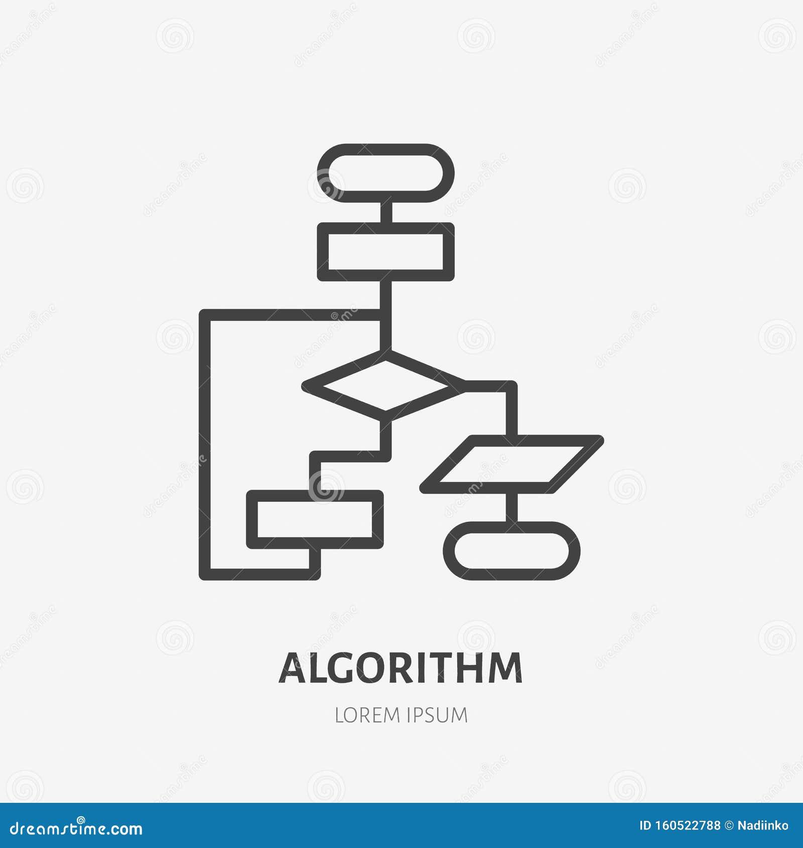 Algorithm flat line icon. Vector thin sign of workflow, diagram logo. Business scheme outline illustration