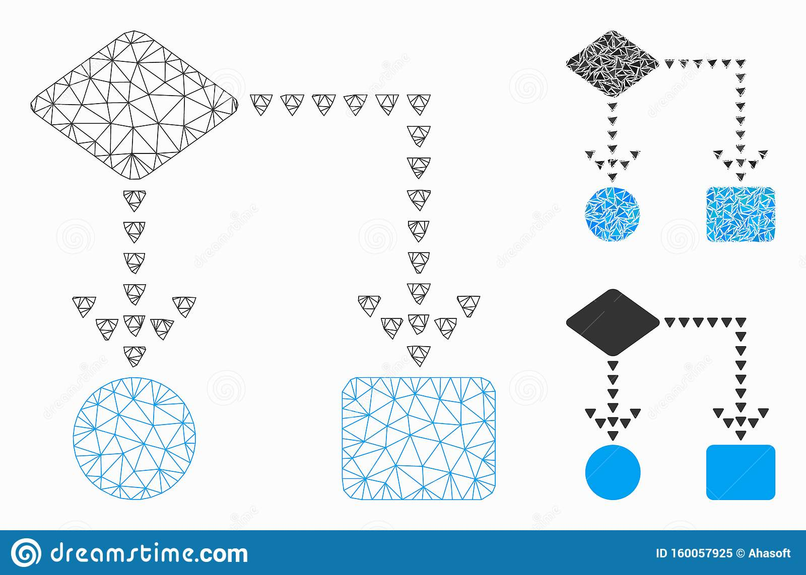 Algorithm Flowchart Vector Mesh Carcass Model and Triangle Mosaic Icon