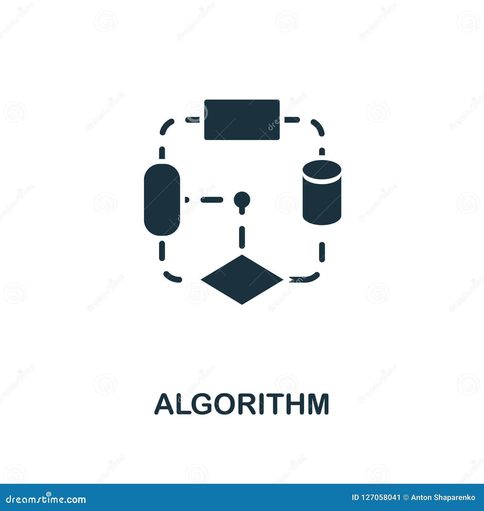 Algorithm Icon. Monochrome Style Design From Machine