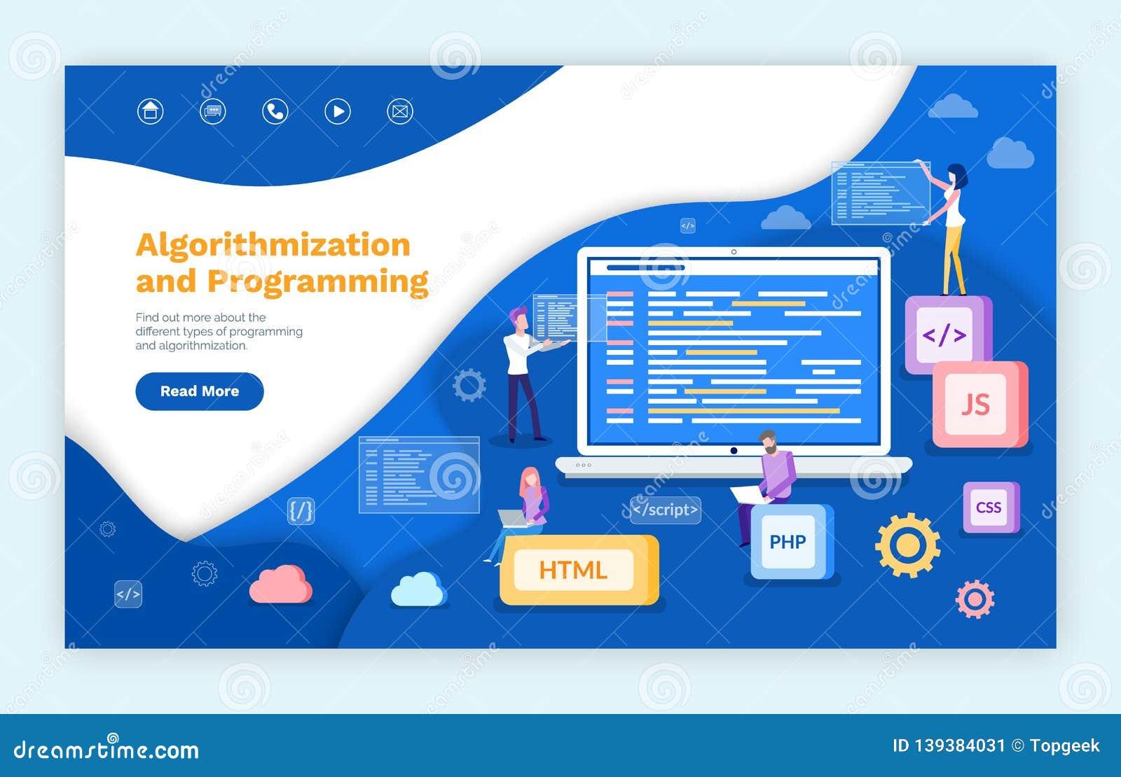 Algorithmization And Programming, People Coders Stock Vector