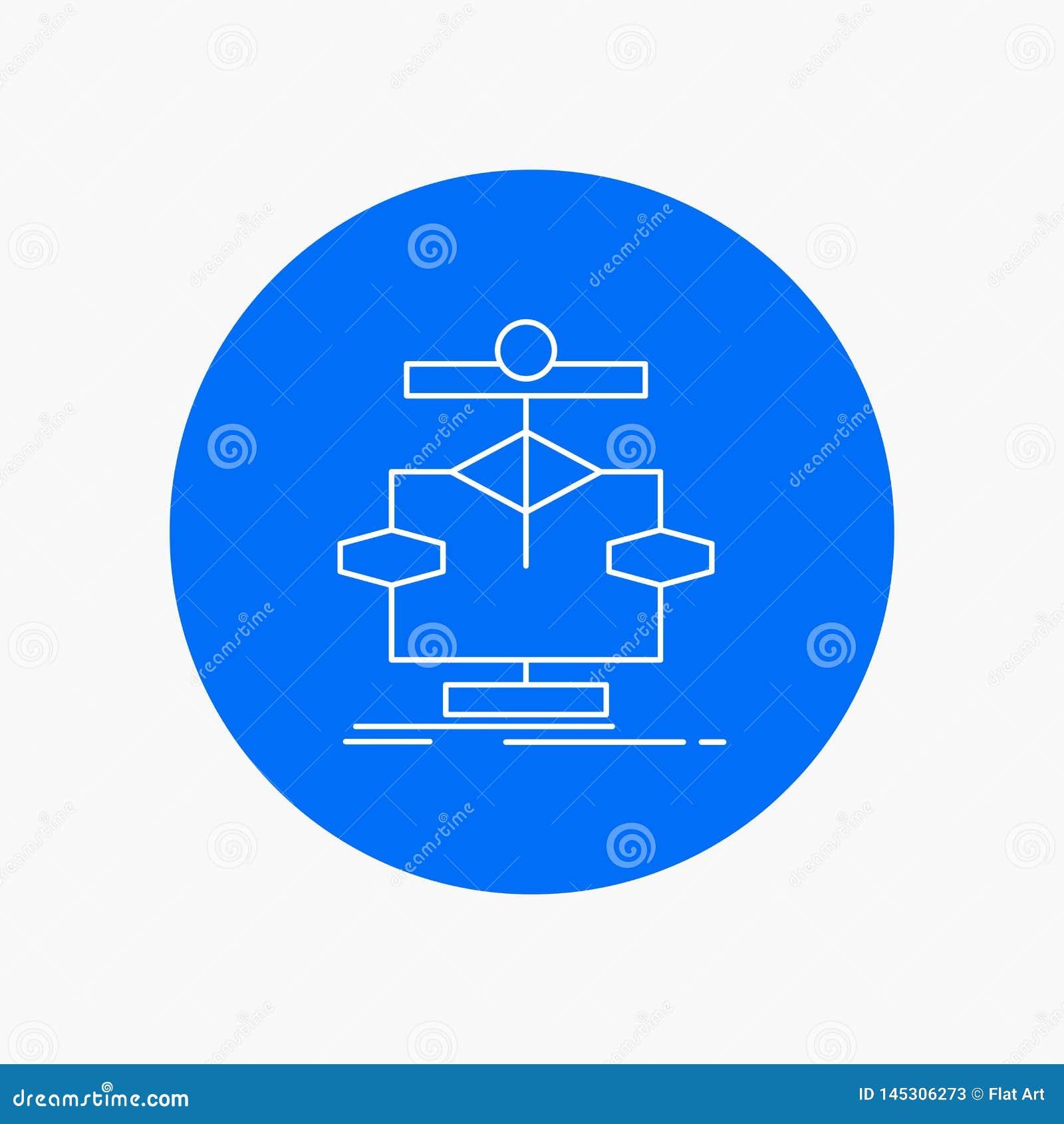 Algoritm diagram, data, diagram, vit linje symbol för flöde i cirkelbakgrund Vektorsymbolsillustration