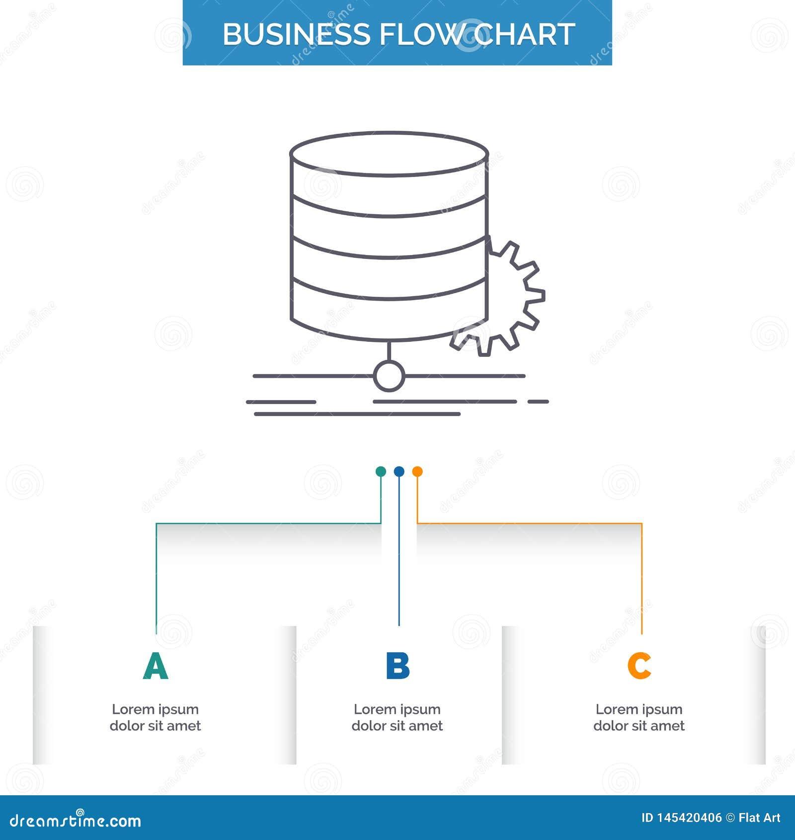 Algoritme, grafiek, gegevens, diagram, het Ontwerp stroom van de Bedrijfsstroomgrafiek met 3 Stappen Lijnpictogram voor Presentat