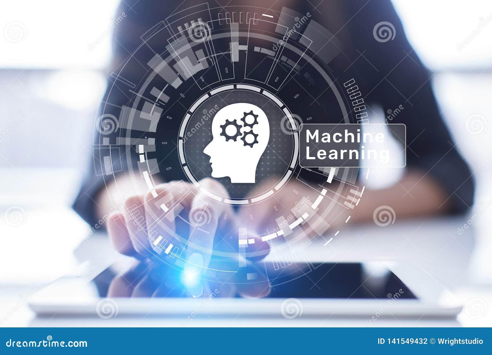 Algoritmos de aprendizaje profundos de la máquina, inteligencia artificial, AI, automatización y tecnología moderna en negocio co